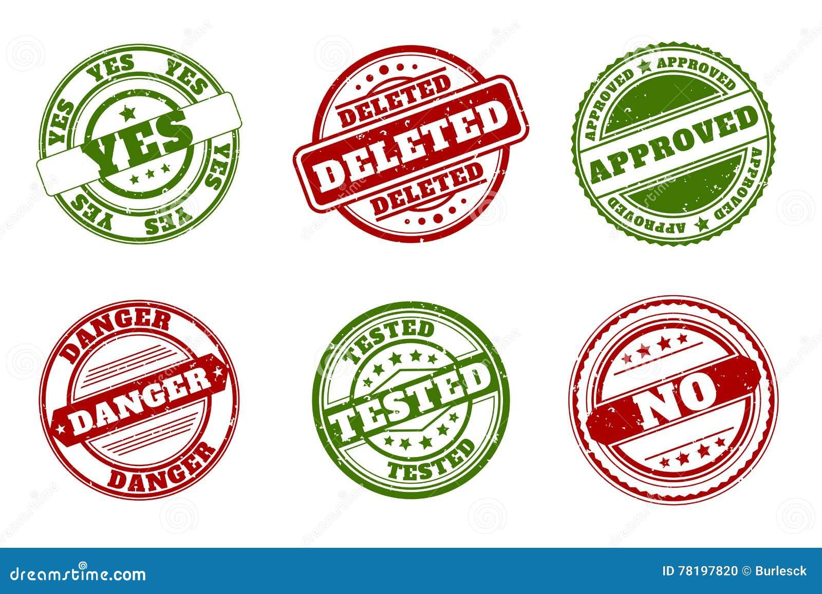 Grunge pieczątki Zatwierdzający i kasujący, tak żadny Testowany lub niebezpieczeństwo zielony czerwony wektor