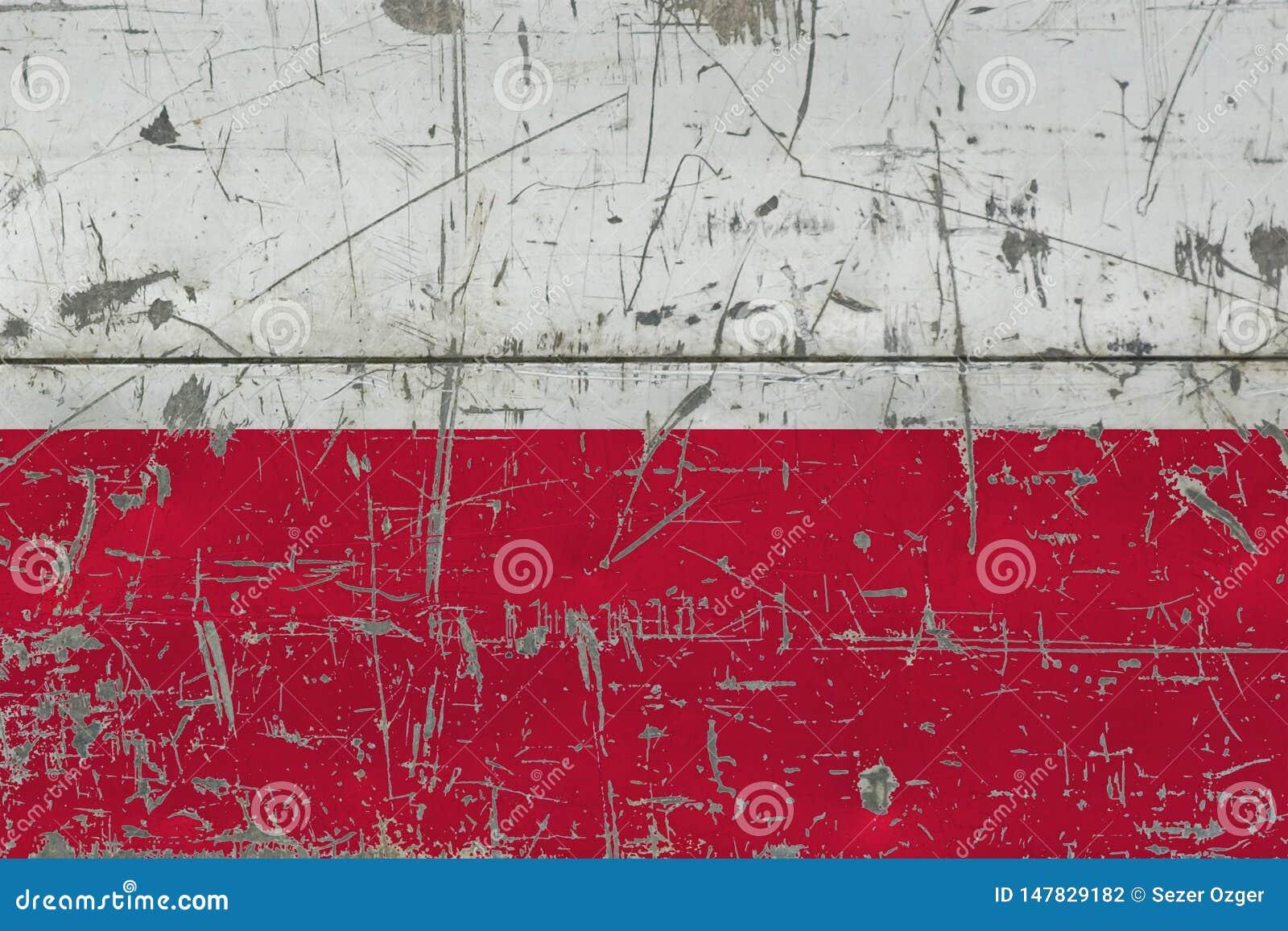 Grunge Polska flaga na starej porysowanej drewnianej powierzchni Krajowy rocznika tło