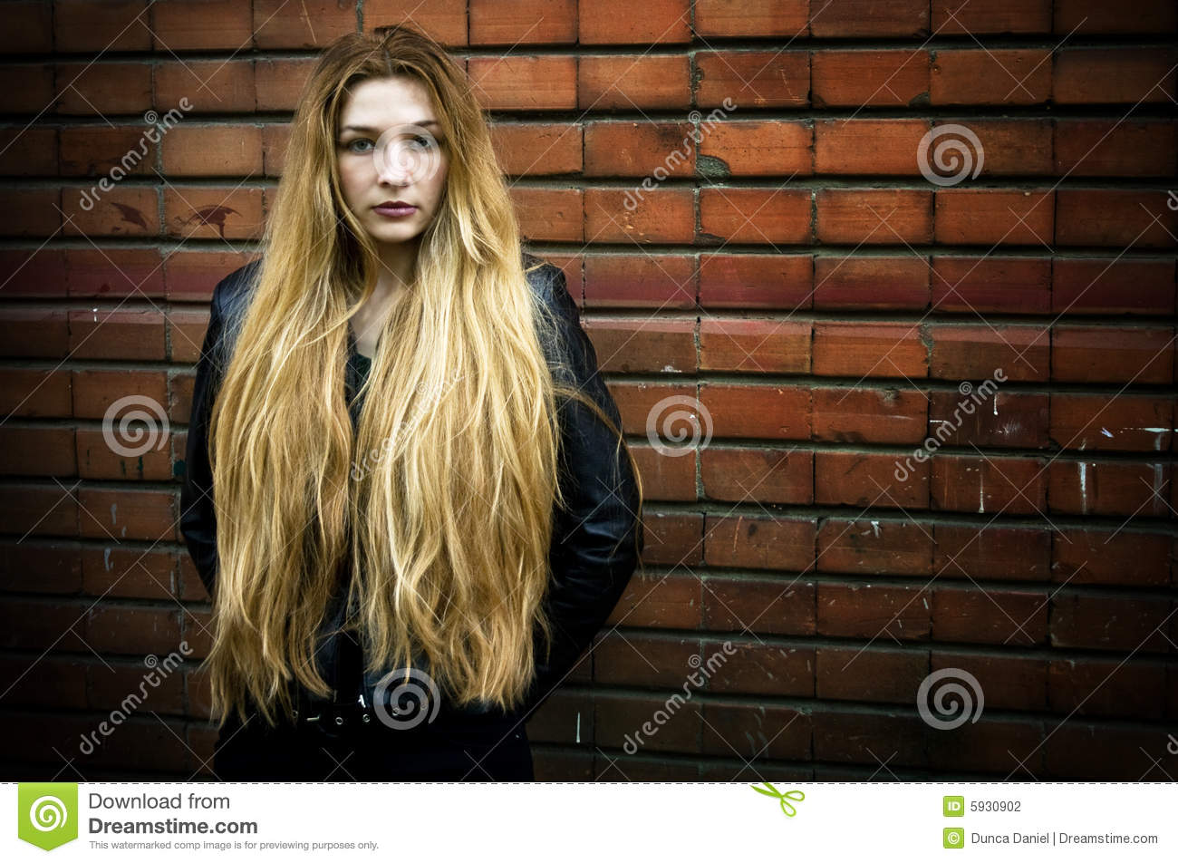 grunge portrait of woman with long hair stock photo
