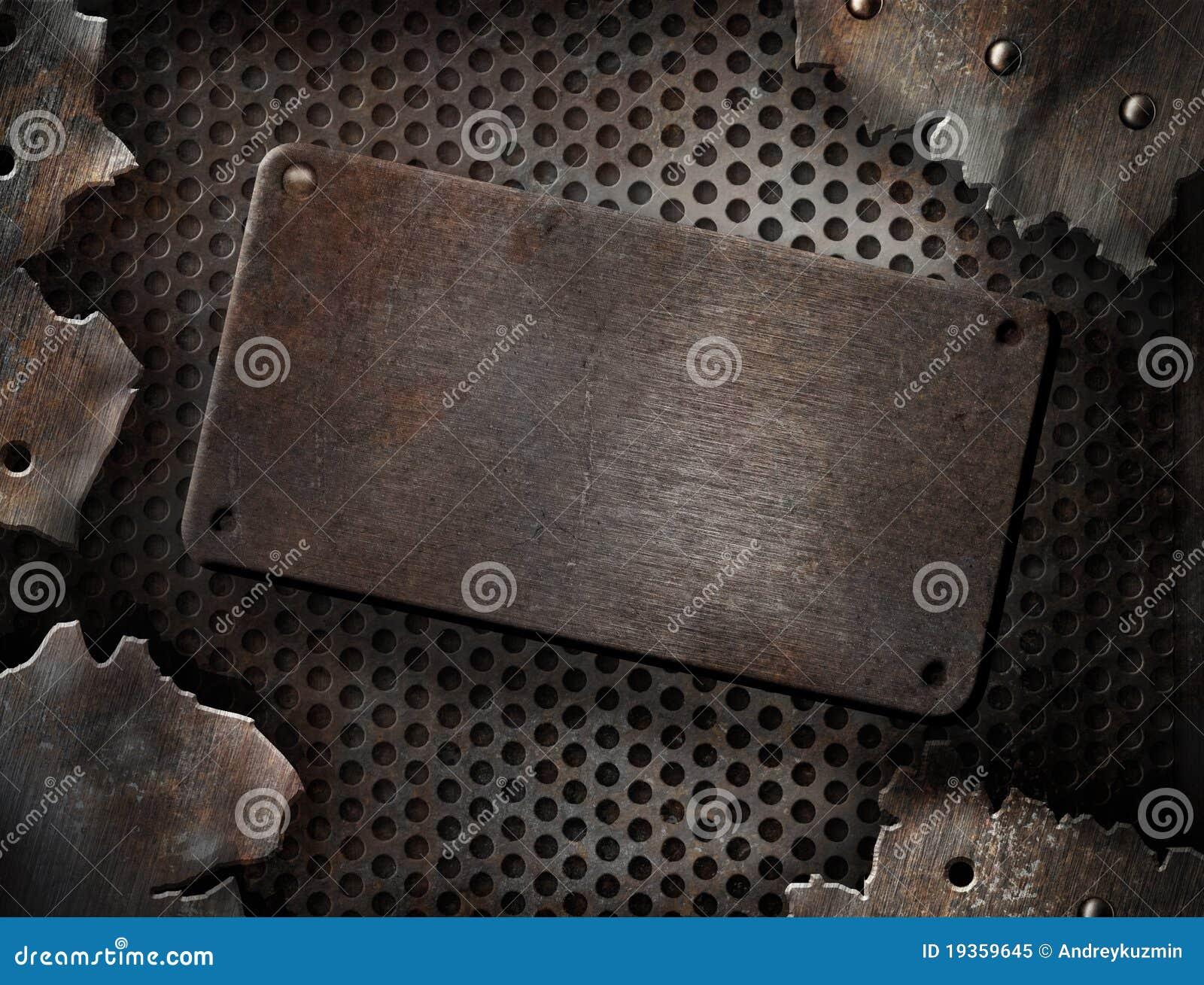 Grunge rachou o molde da placa de metal