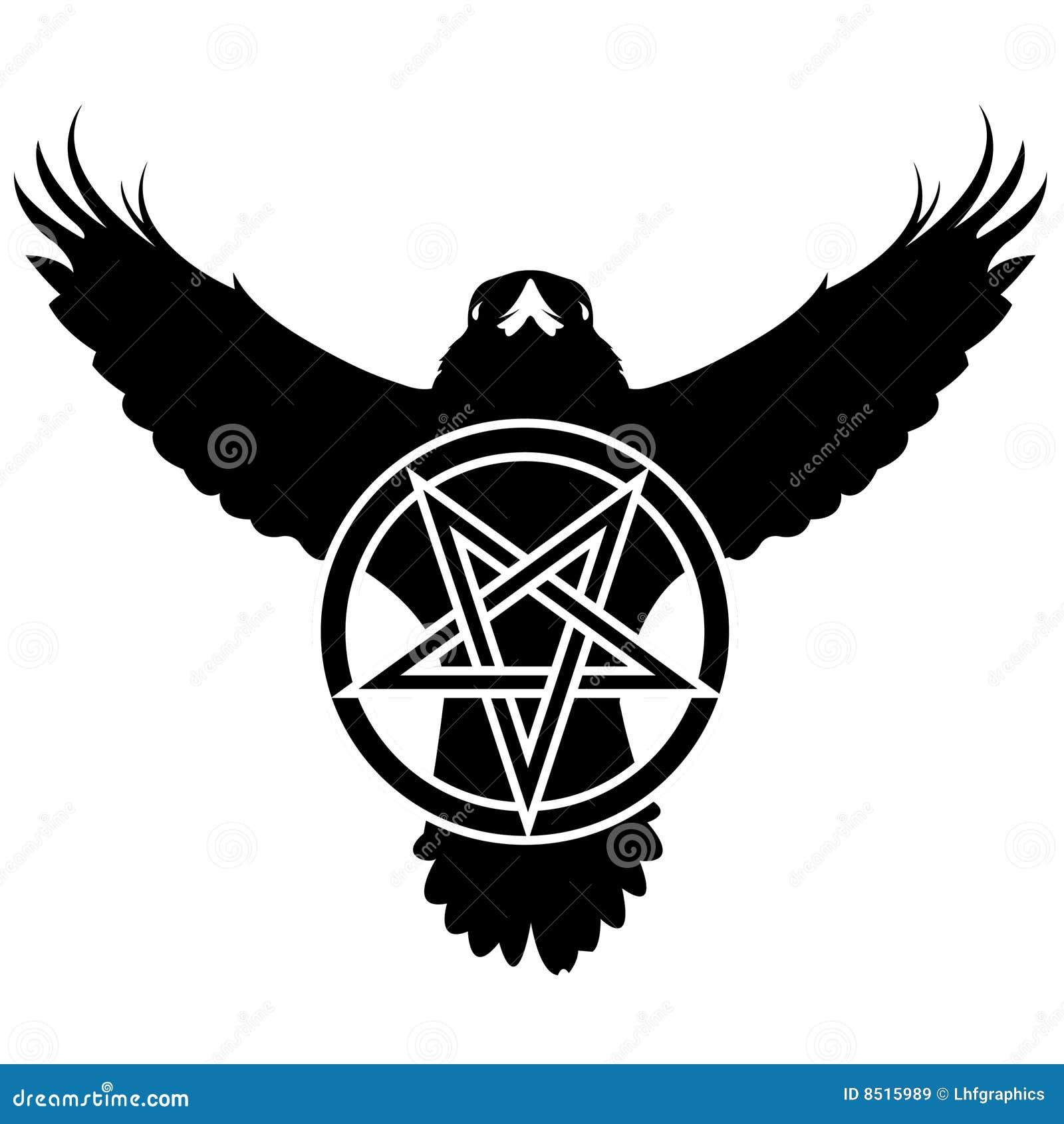 Grunge raven with pentagram