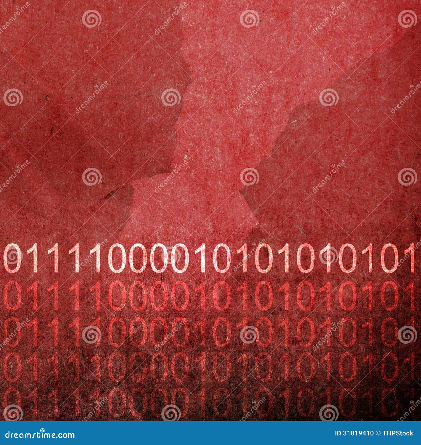 Grunge Red Binary Code Background Stock Photo - Image ...