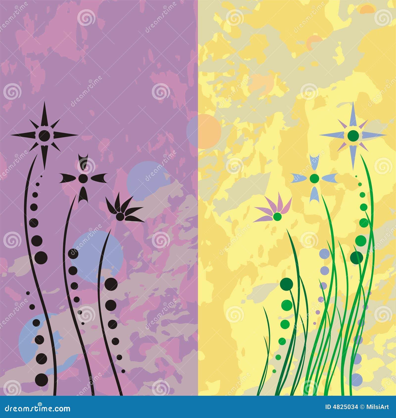 Grunge Retro- Blumen