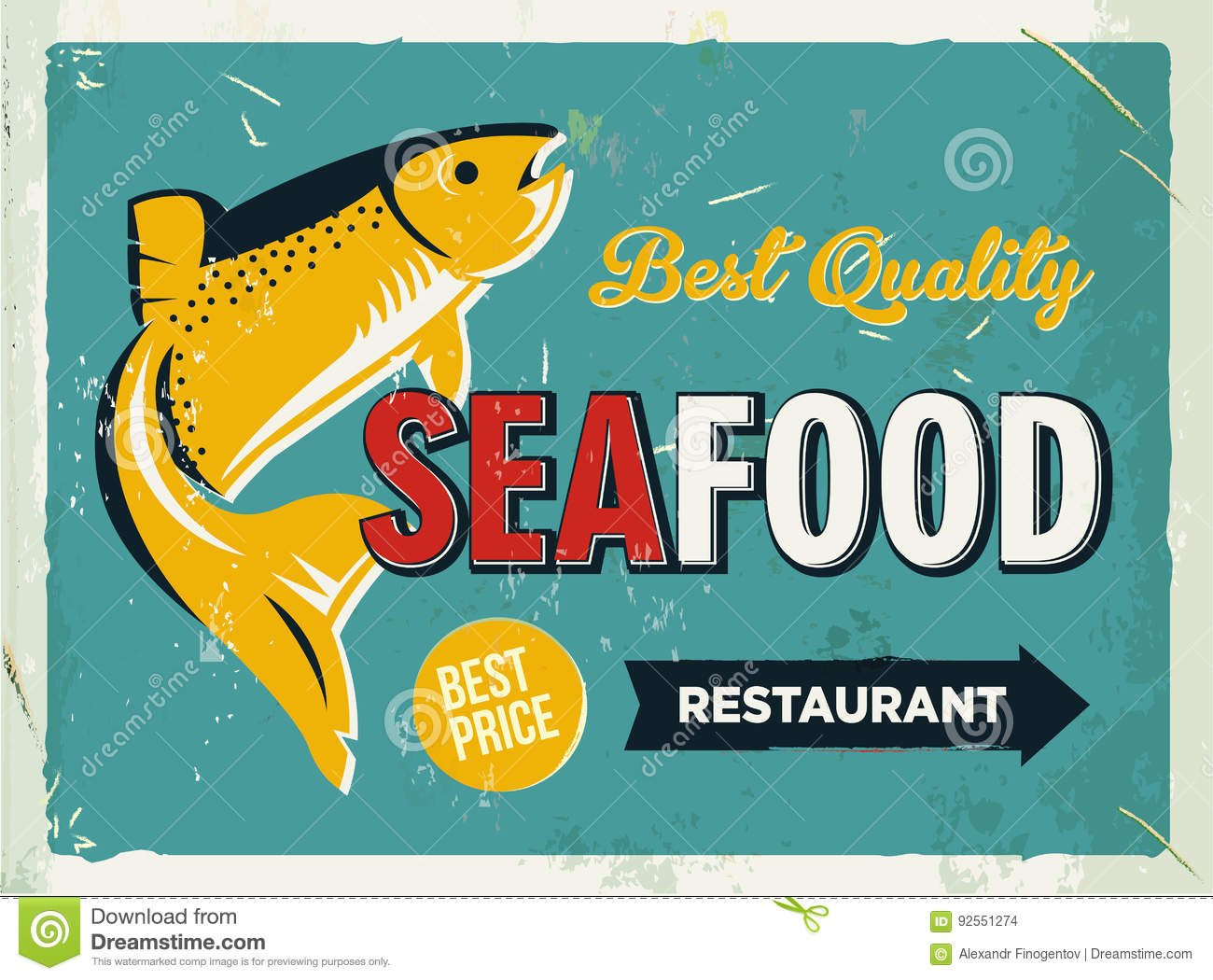 Grunge Retro Metal Sign With Seafood Logo Vintage Poster Old Fish Restaurant Food And Drink Background Theme Stock Vector Illustration Of Asian Salad 92551274