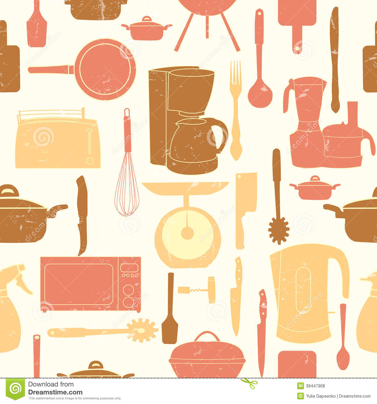 Retro Kitchen Illustration: Grunge Retro Vector Illustration Seamless Pattern Of