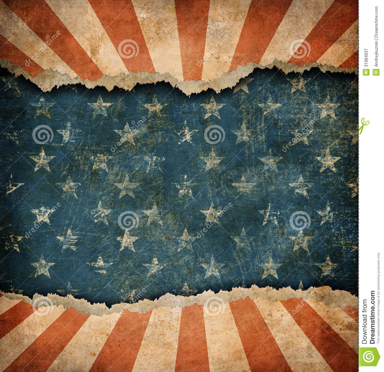 Grunge Ripped Paper Usa Flag Template Royalty Free Stock