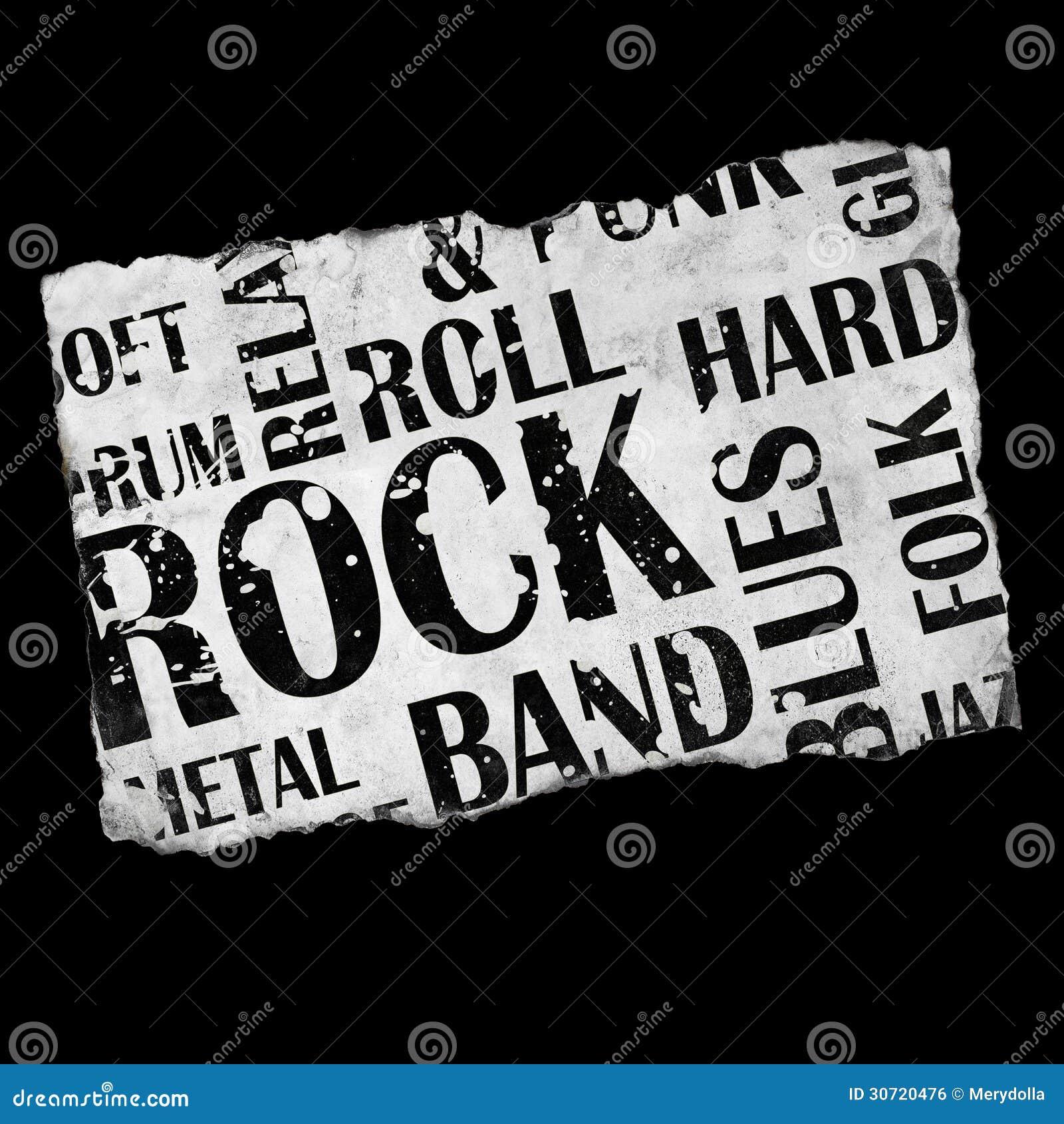 Grunge rock music poster on dark background.