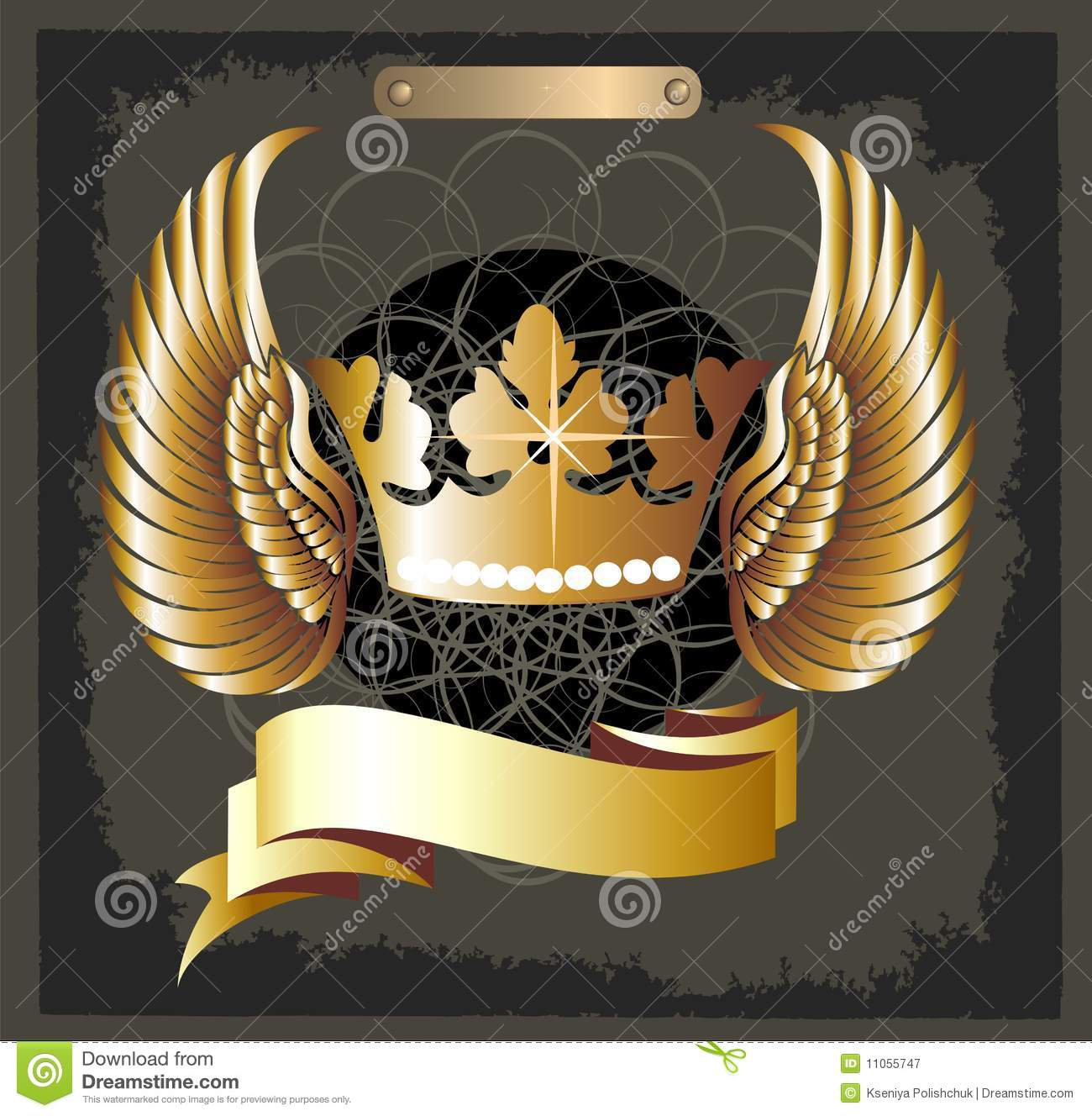 Grunge Royal crown vector with wings