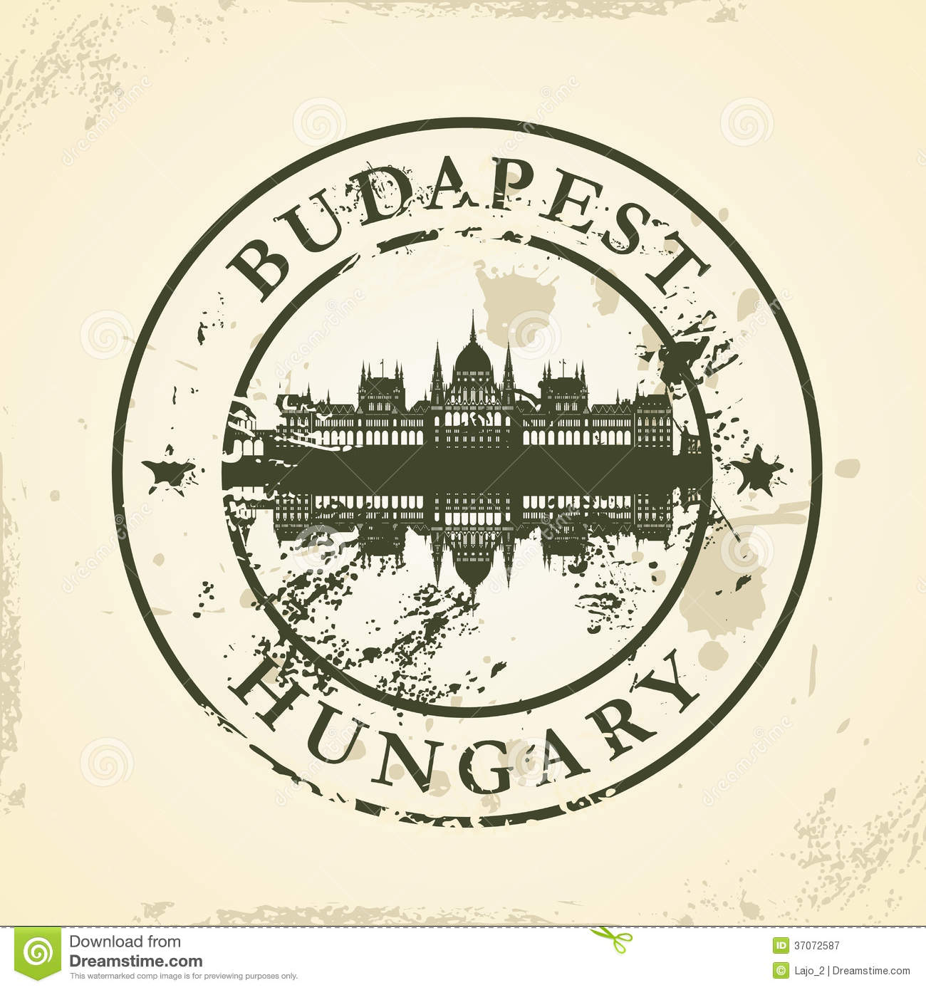 Grunge Rubber Stamp With Budapest, Hungary Royalty Free