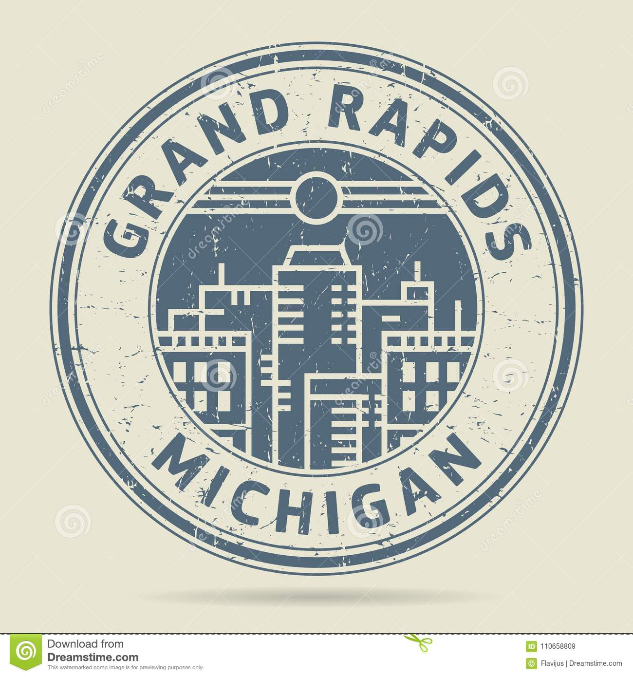Grunge Rubber Stamp Or Label With Text Grand Rapids
