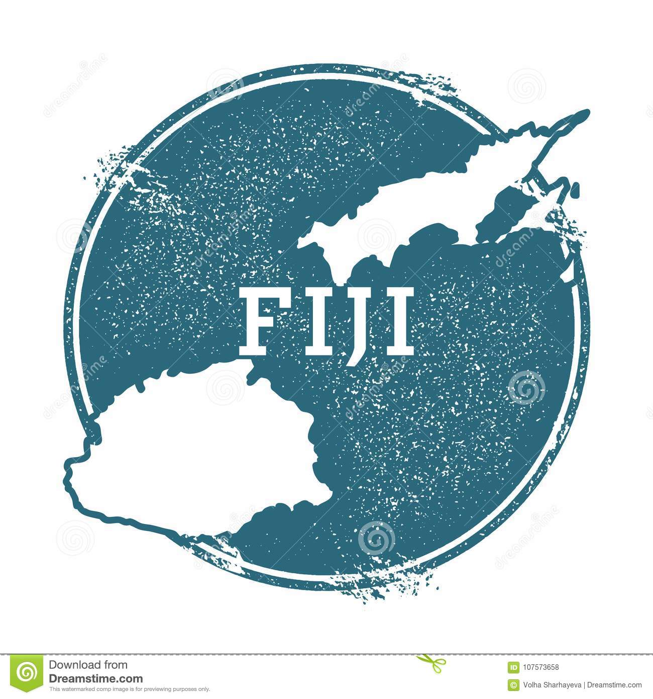 Grunge Rubber Stamp With Name And Map Of Fiji  Stock Vector