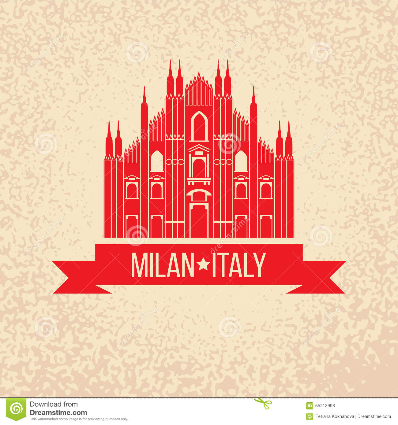 Duomo Milan Italy Vector Illustration Cartoon Vector