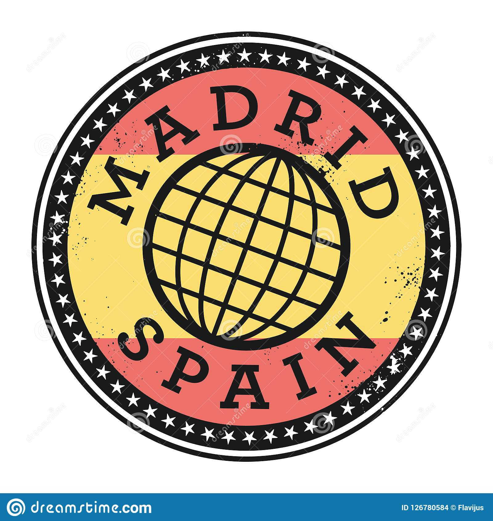 Grunge rubber stamp with the text Madrid, Spain