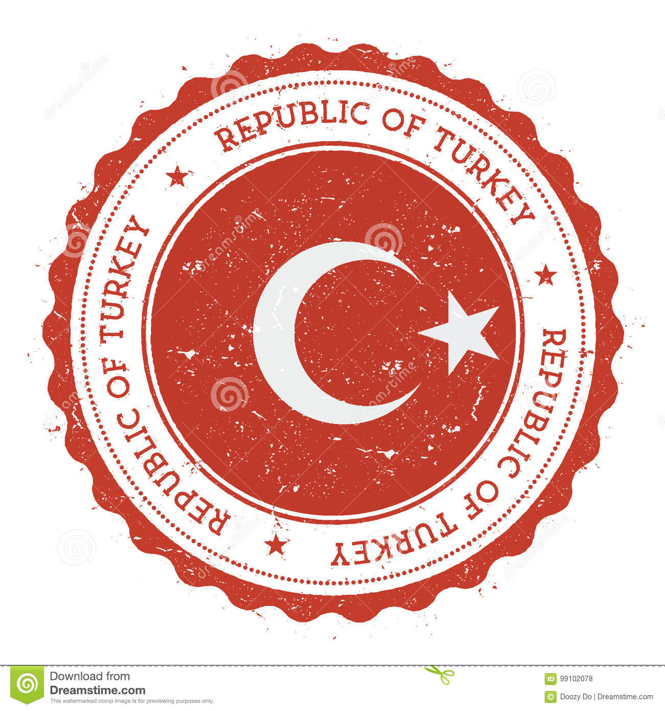Grunge Rubber Stamp With Turkey Flag. Stock Vector