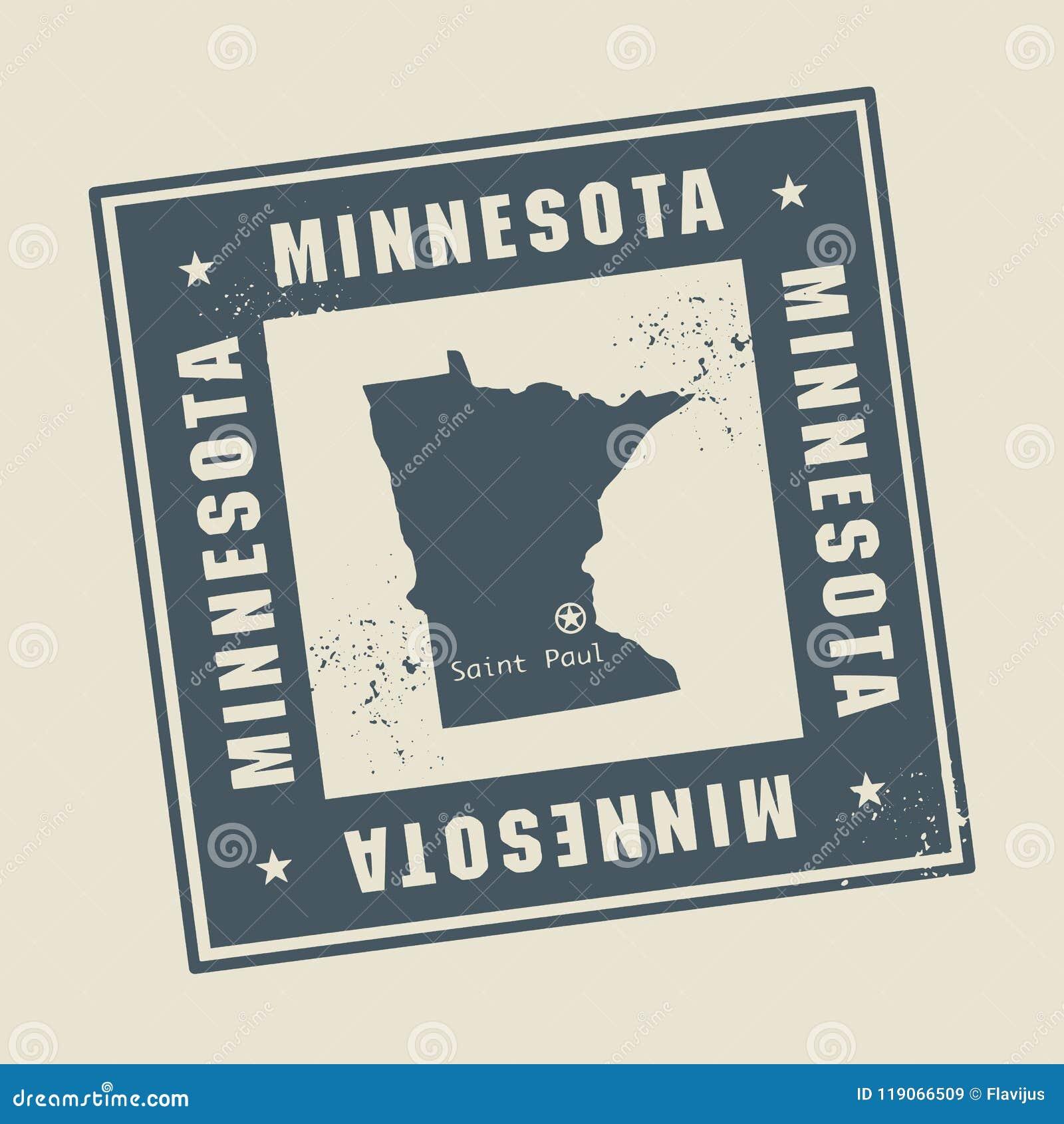 Grunge rubberzegel met naam en kaart van Minnesota, de V.S.