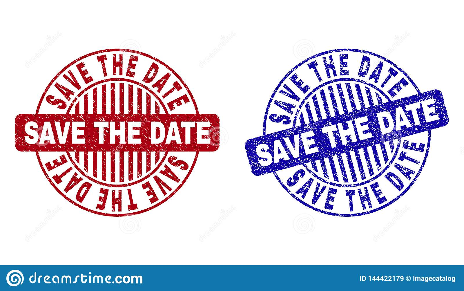 Grunge Save The Date Scratched Round Stamps Stock Vector