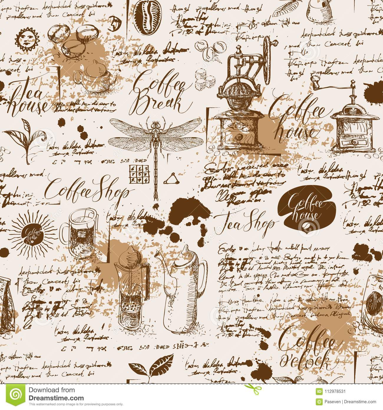 Grunge seamless background on coffee and tea theme