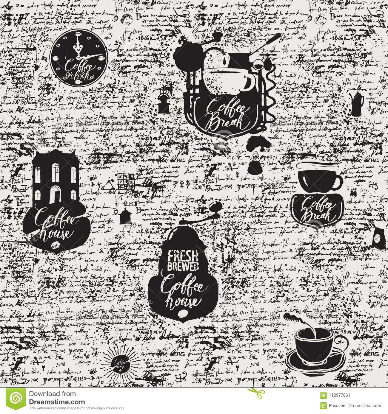 Grunge seamless background on coffee theme