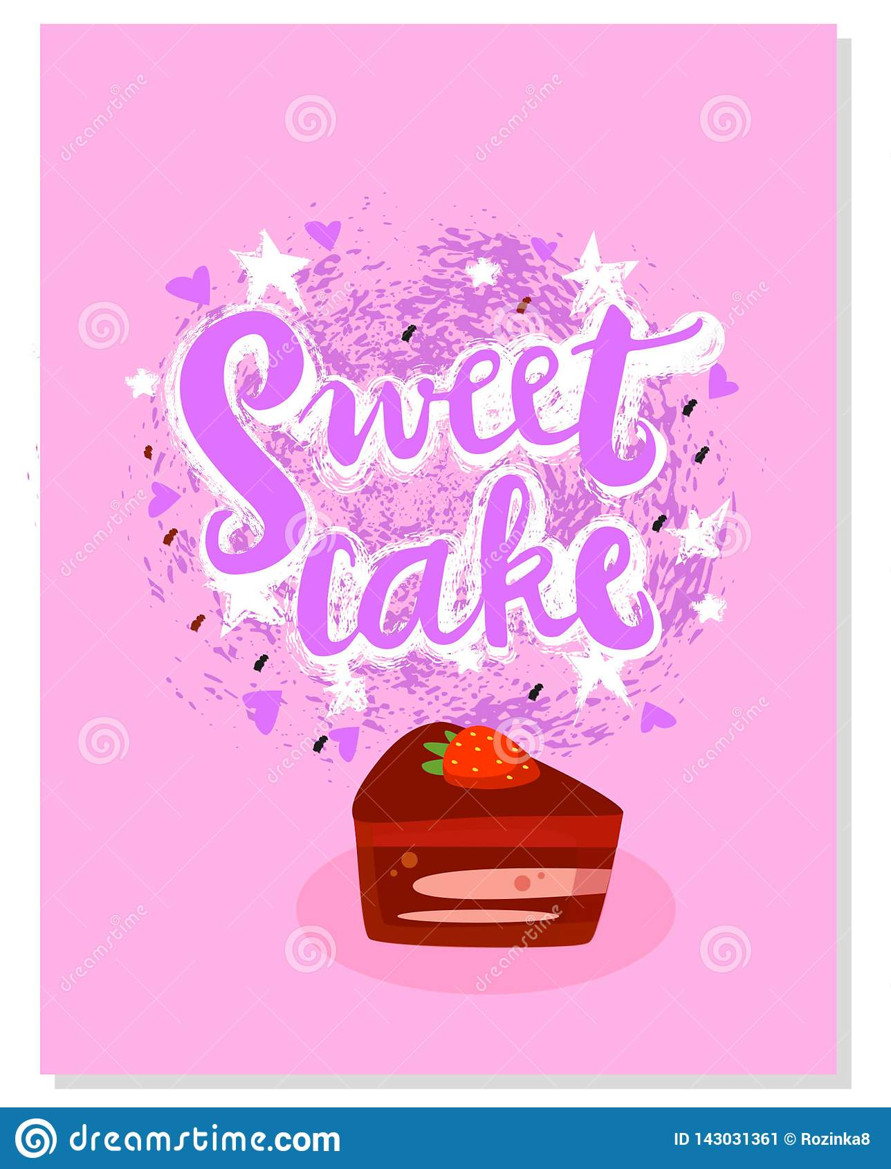 Grunge sign Sweet cake with illustration. Hand drawn shapes. Icon for your web, print, textile, fabric, fashion. Vector.