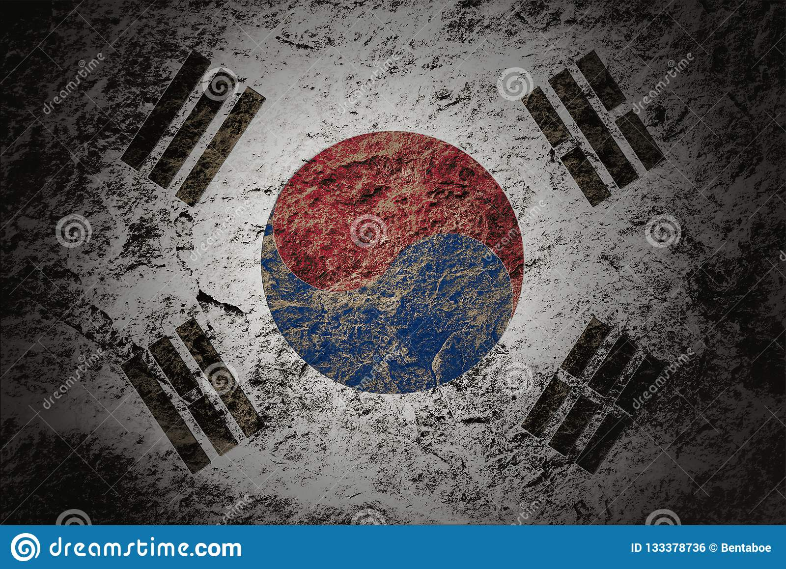 Grunge South Korea flag on stone background