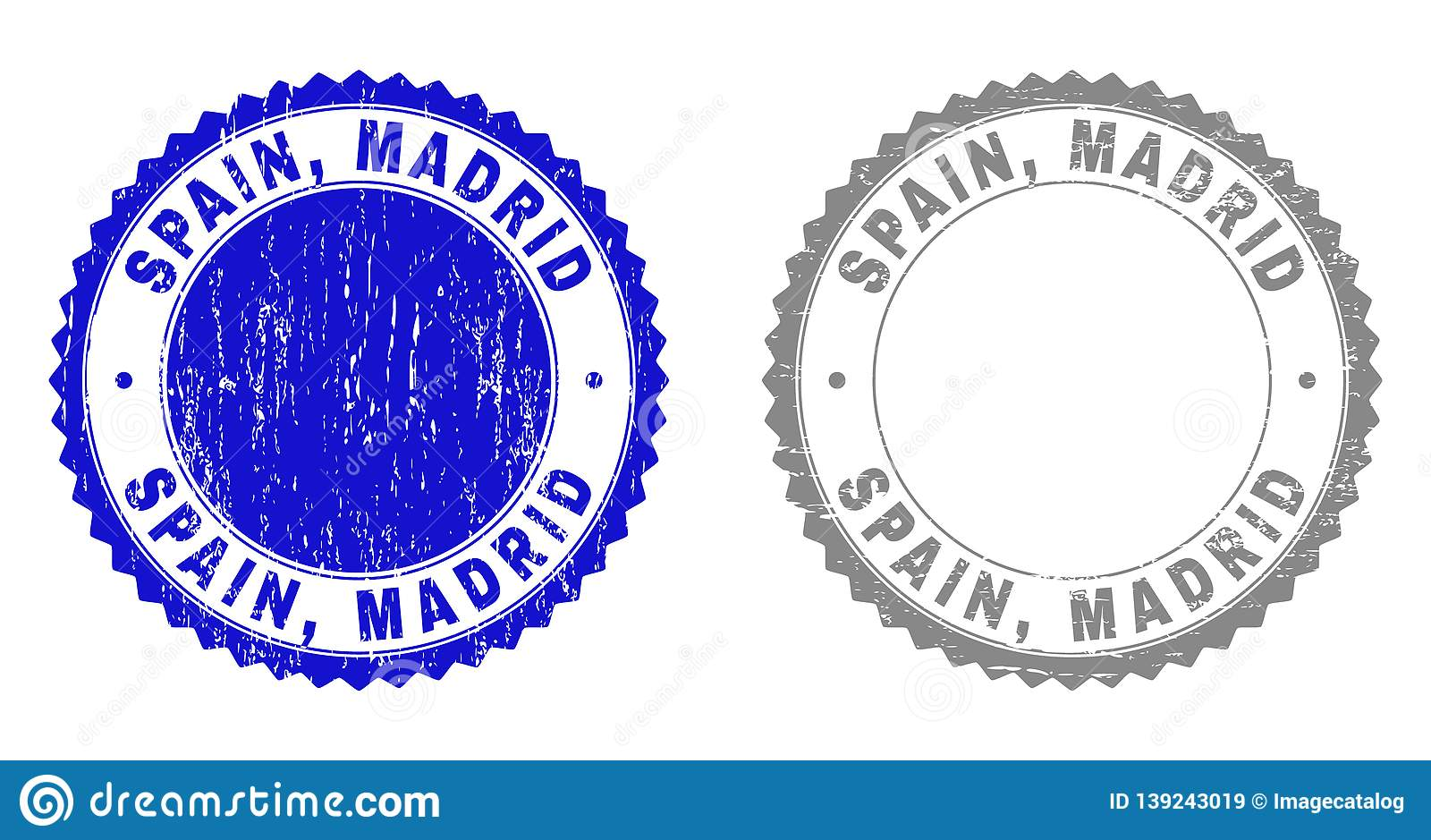 Grunge SPAIN, MADRID Scratched Stamps