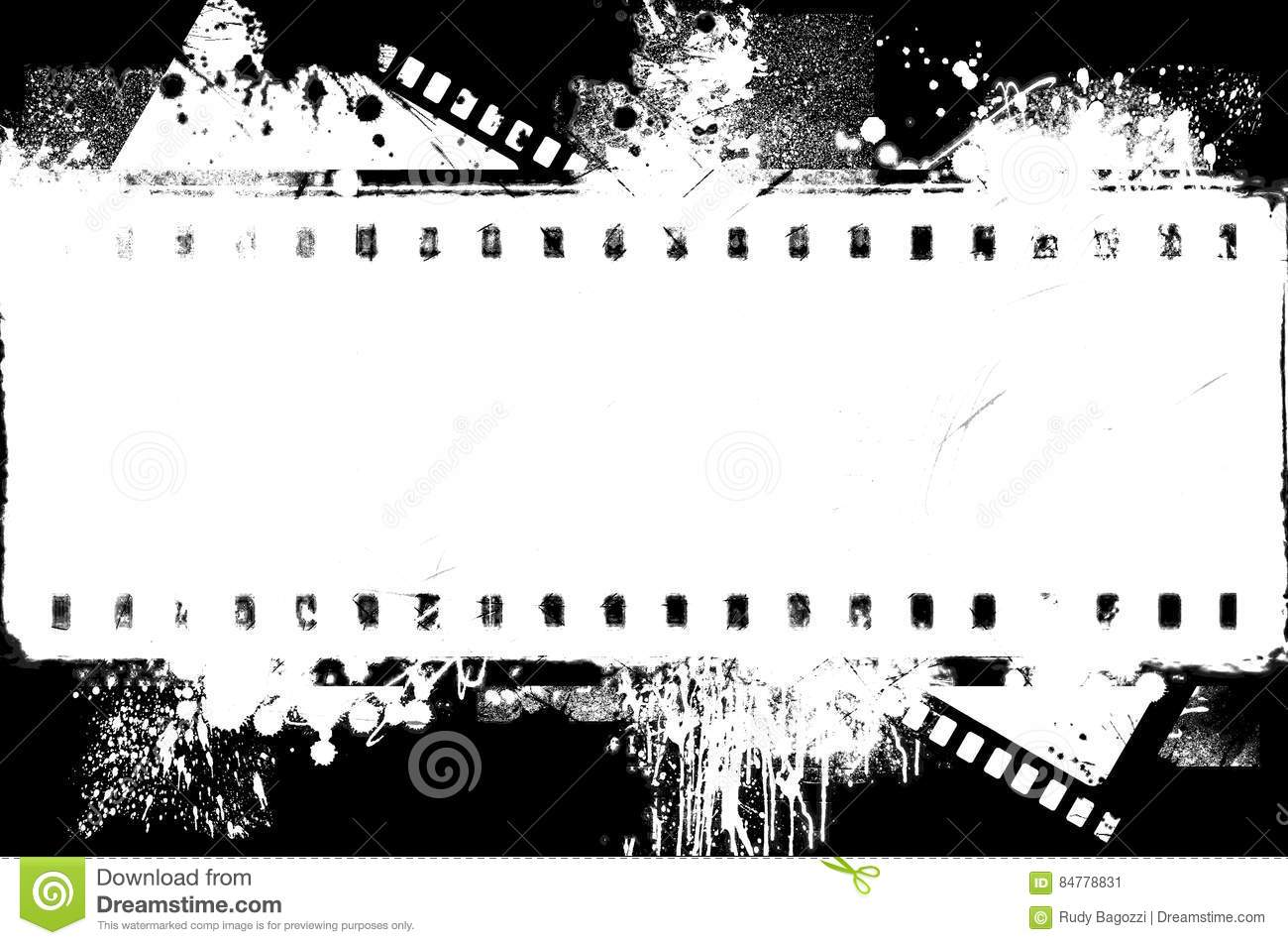 Grunge Splashed Black And White Film Strip Frame On Black Background ...