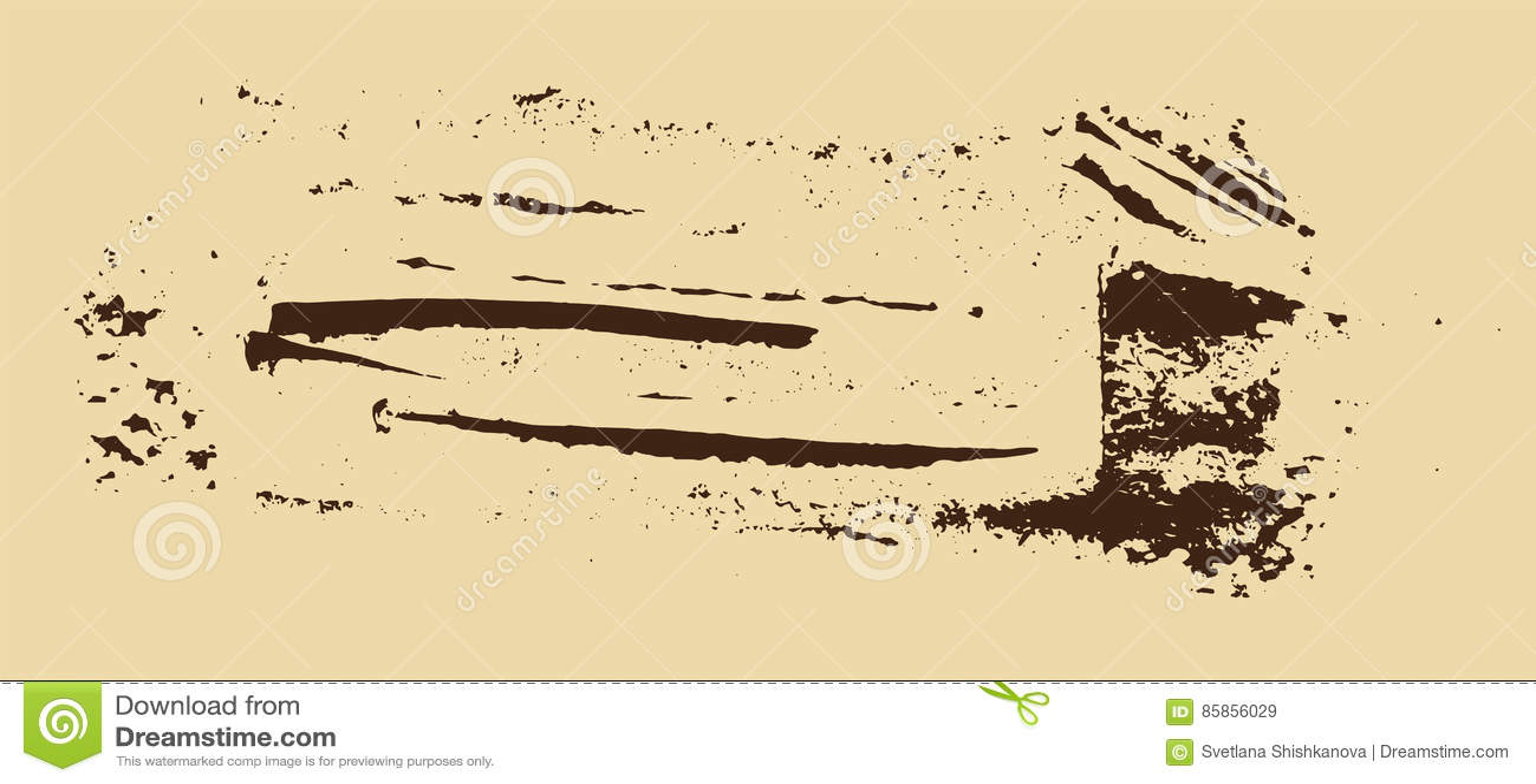 Grunge Texture  Brown Brush On Beige  Vector Template  Urban
