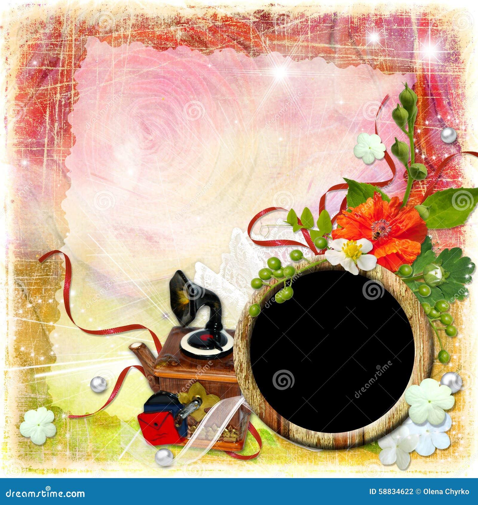 grunge textured background with framework and flowers stock illustration image 58834622. Black Bedroom Furniture Sets. Home Design Ideas