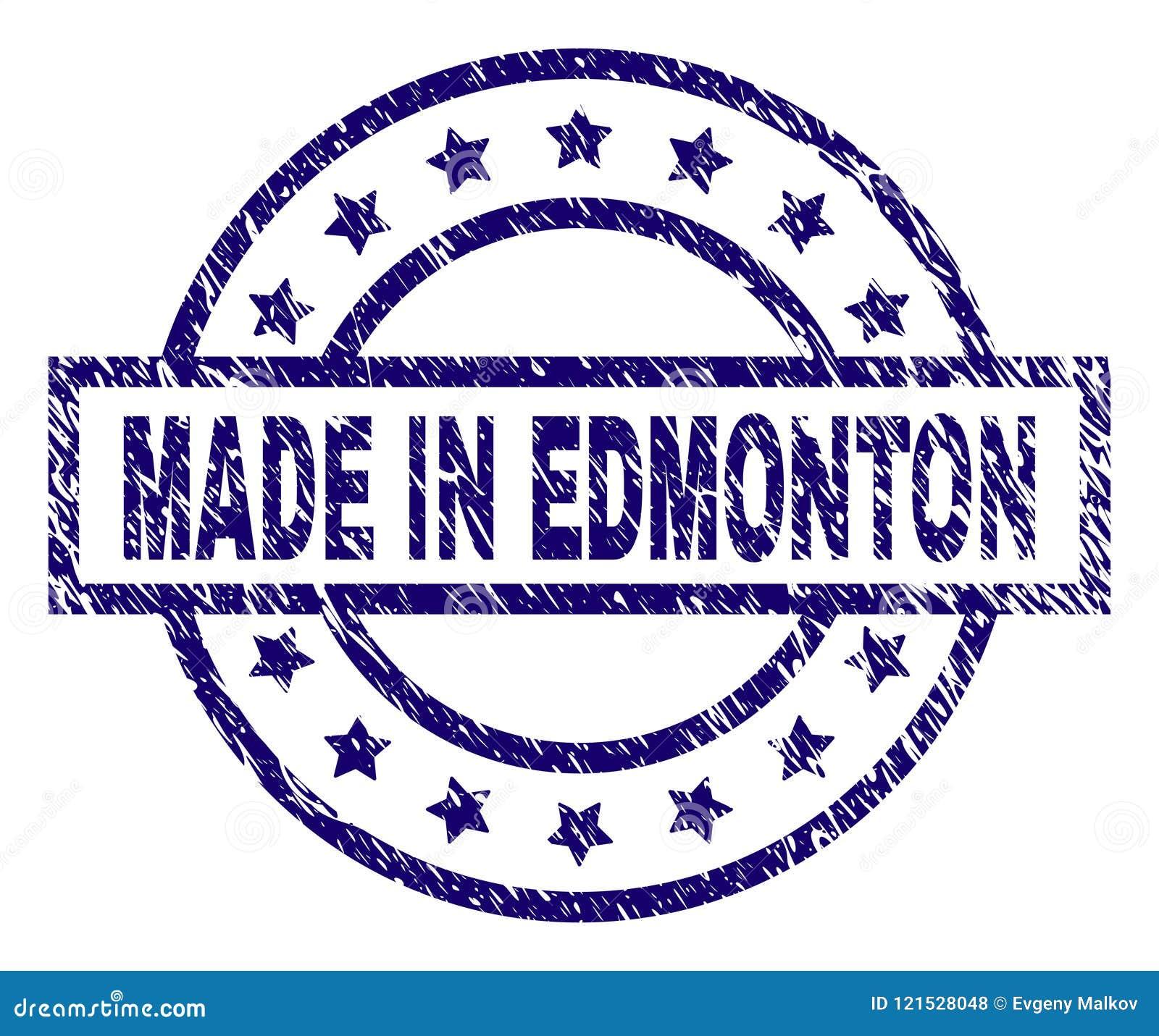 Grunge Textured MADE IN EDMONTON Stamp Seal Stock Illustration