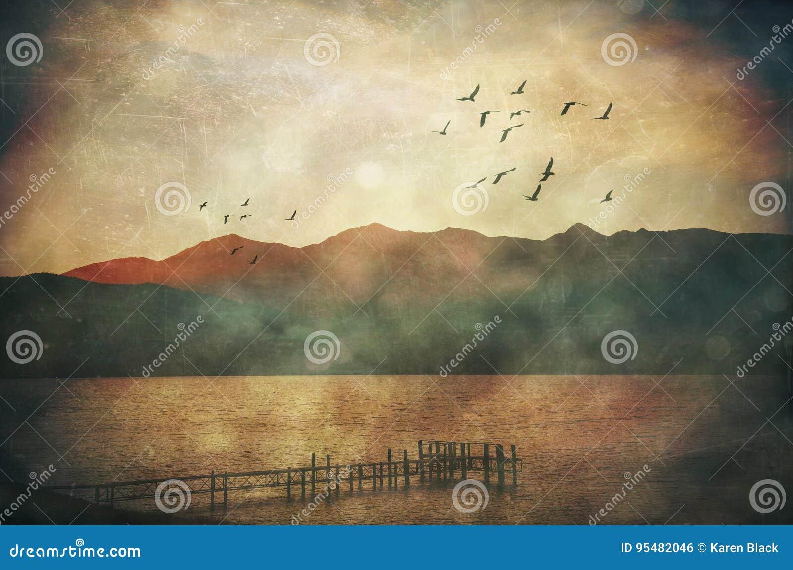 Grunge textured markotnego krajobraz jezioro i jetty