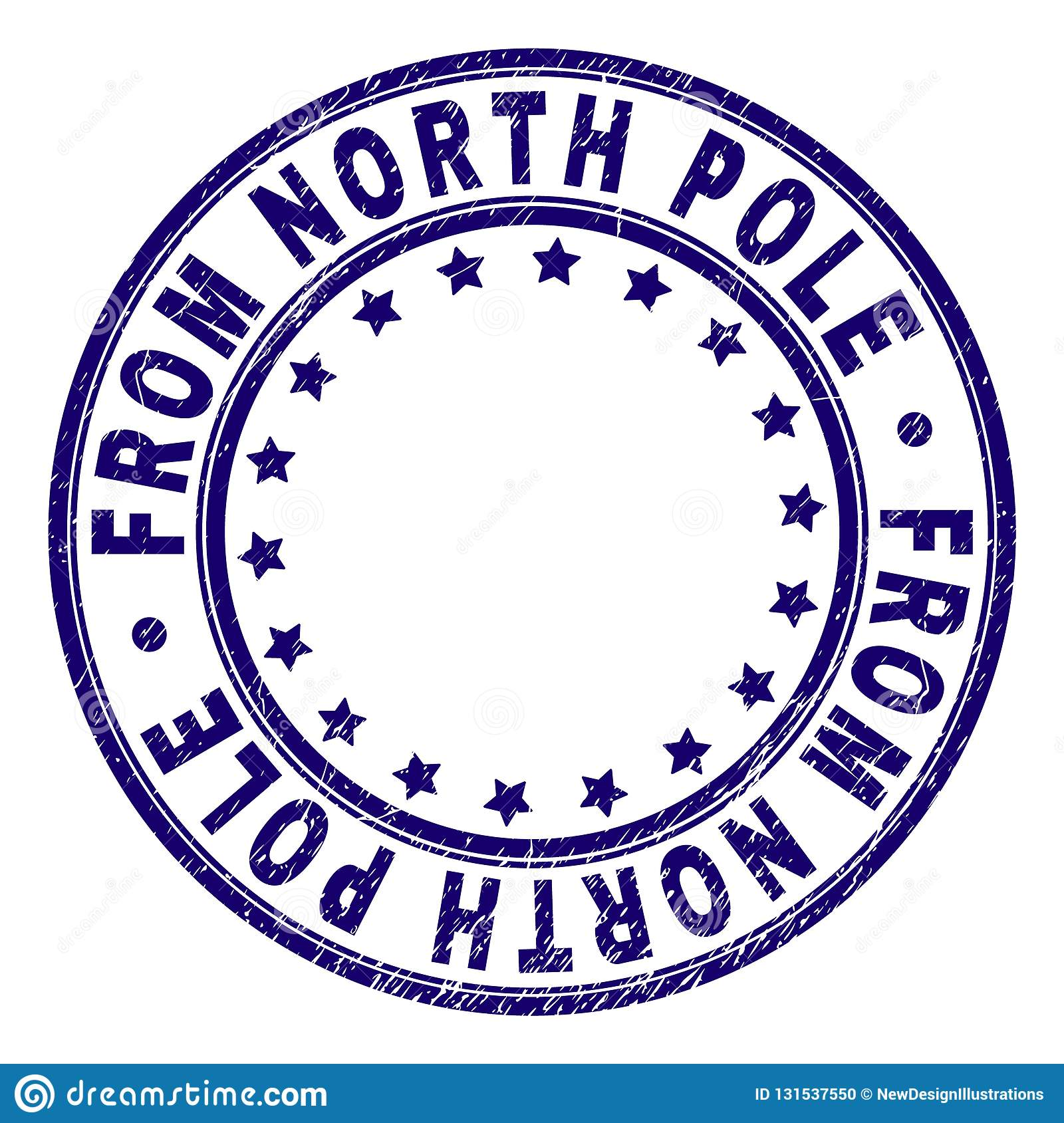 Grunge Textured FROM NORTH POLE Round Stamp Seal Stock Vector
