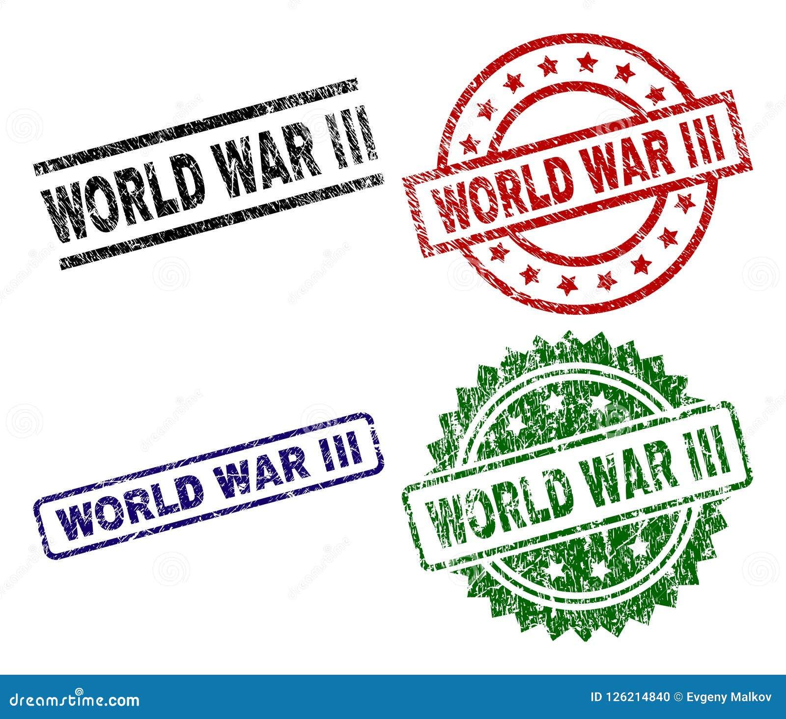 Grunge Textured WORLD WAR III Seal Stamps