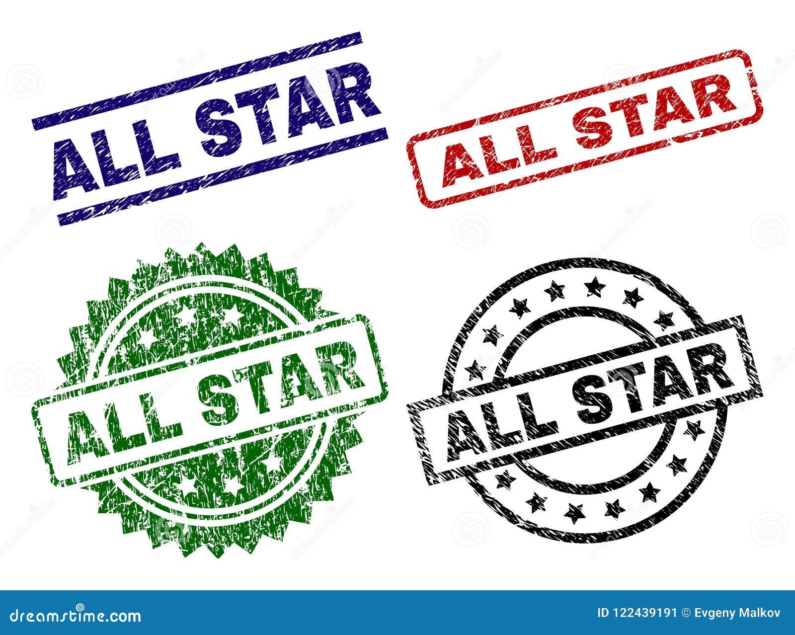Grunge texturerade ALL STAR skyddsremsastämplar