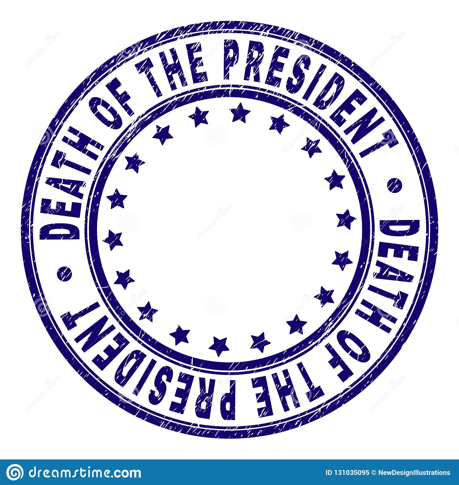 Grunge texturerade DÖD AV PRESIDENTEN Round Stamp Seal