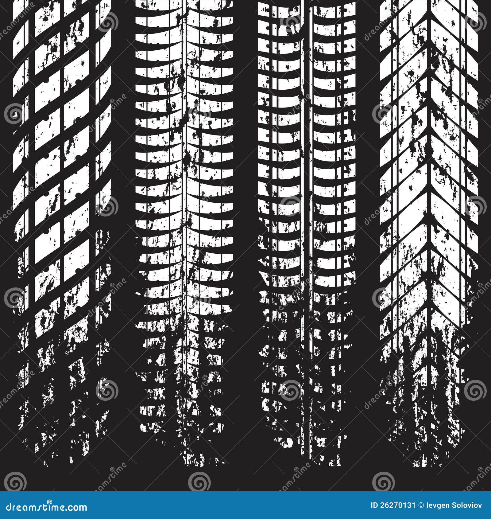 Grunge Tire Track Marks On Black Stock Image Image 26270131