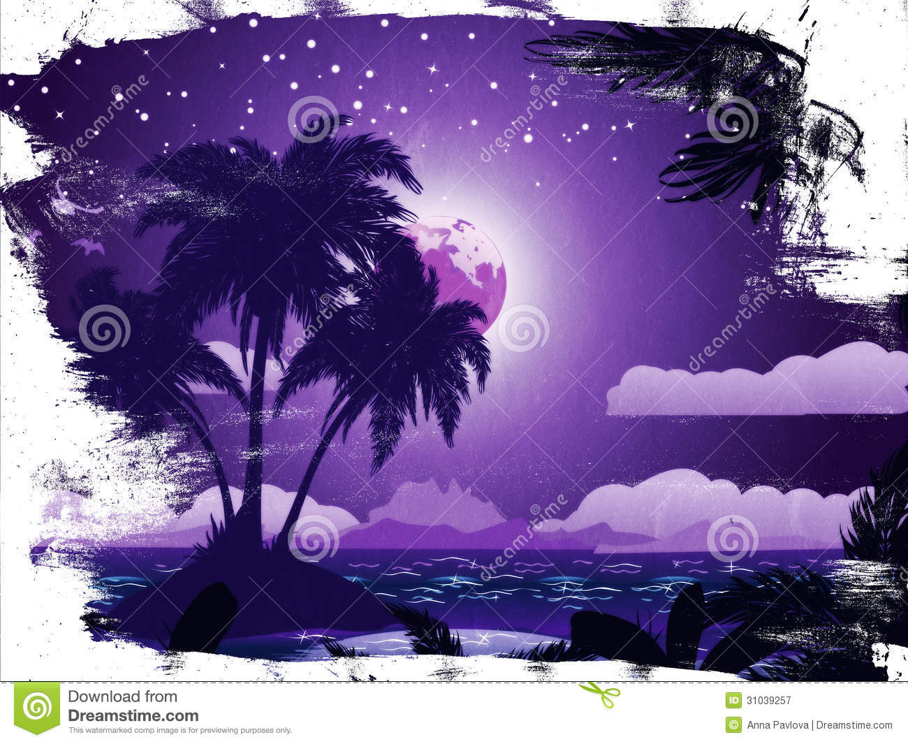 Tropical Island Beach Ambience Sound: Grunge Tropical Island At Night Stock Illustration