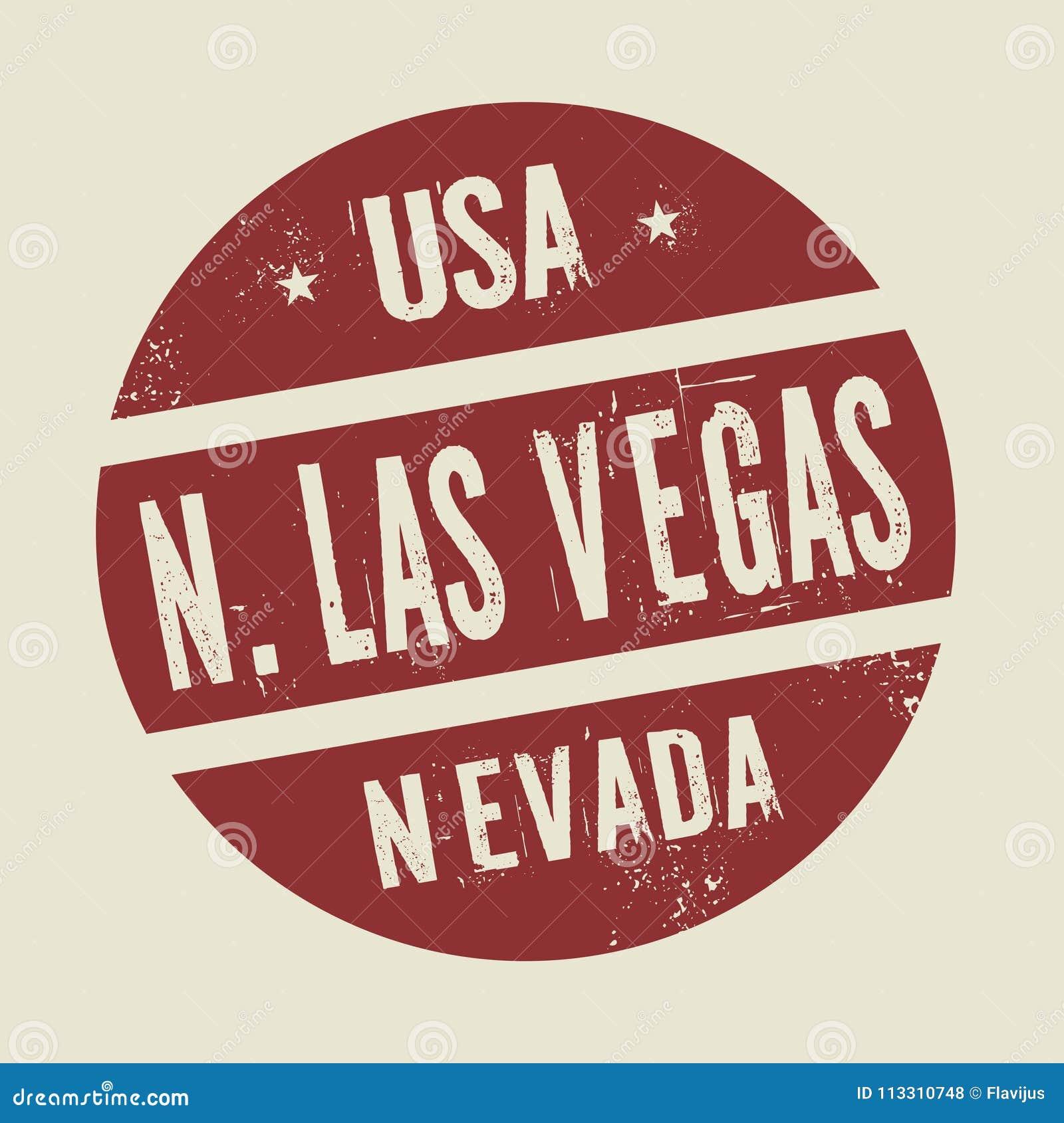 Grunge uitstekende ronde zegel met tekst Noord-Las Vegas, Nevada