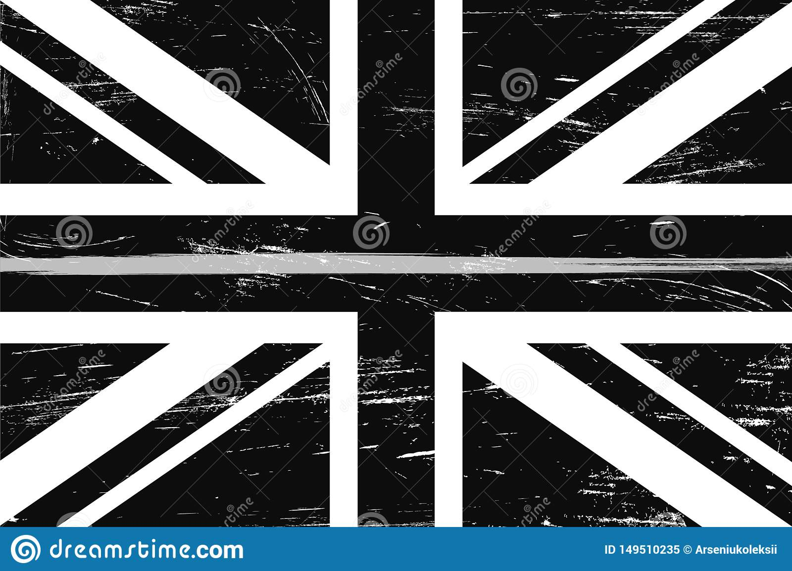 Grunge United Kingdom flag with a thin gray or silver line