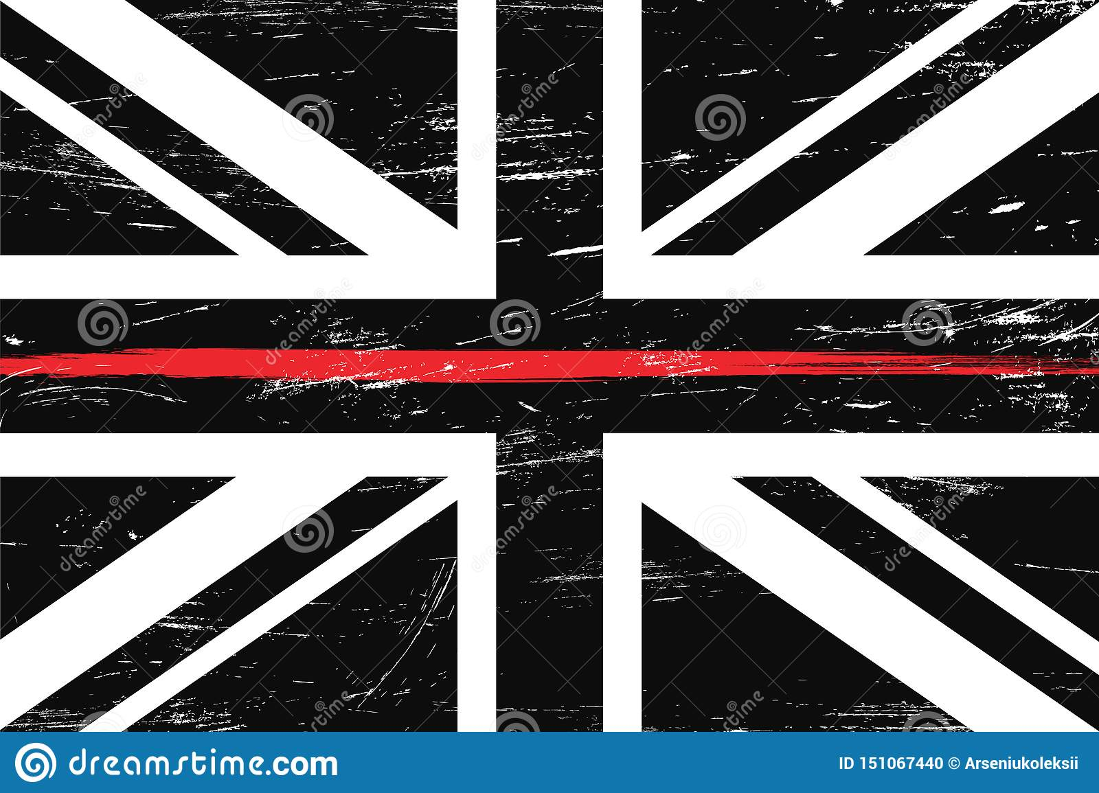 Grunge United Kingdom flag with a thin red line