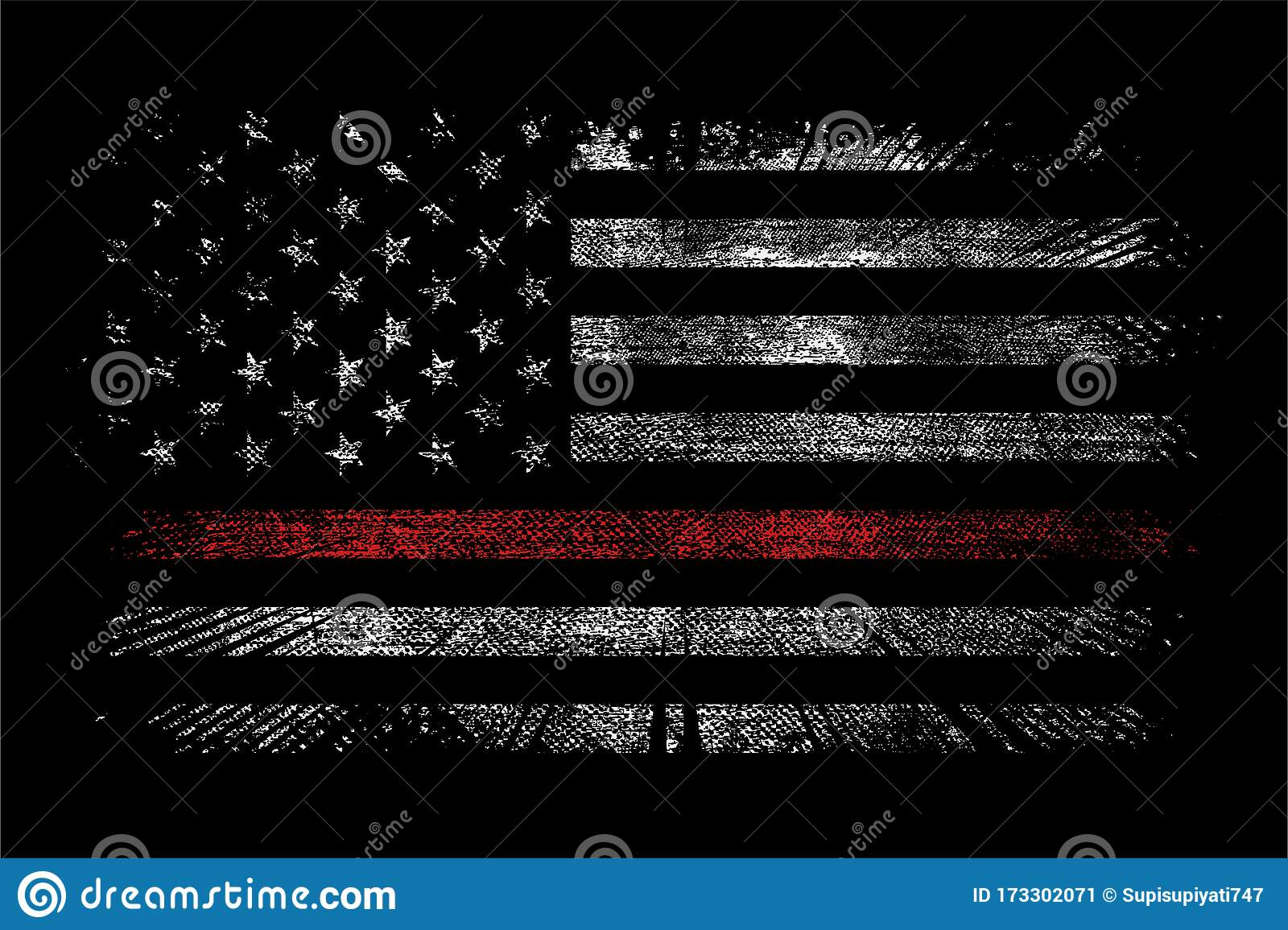 Grunge Usa Firefighter With Thin Red Line Wallpaper Background