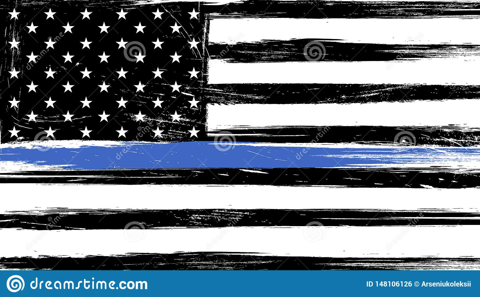 Grunge Usa Flag With A Thin Blue Line Stock Vector Illustration