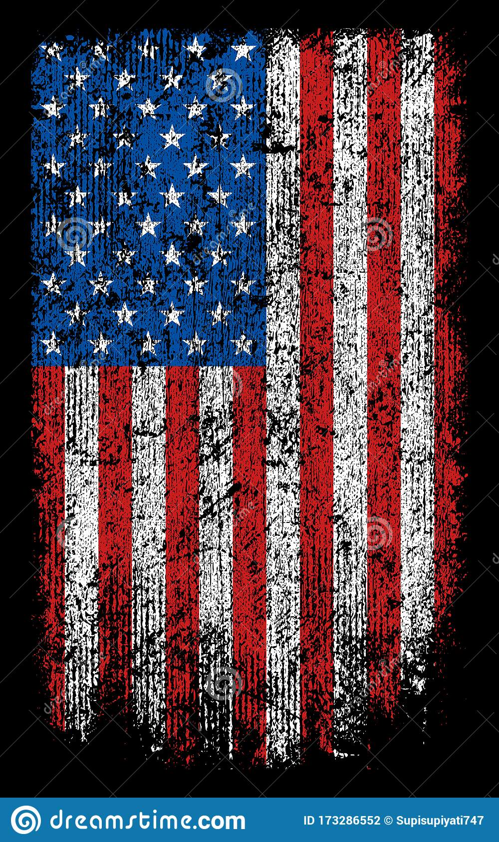 Grunge Usa Flag Wallpaper Background Vector Design Stock Vector