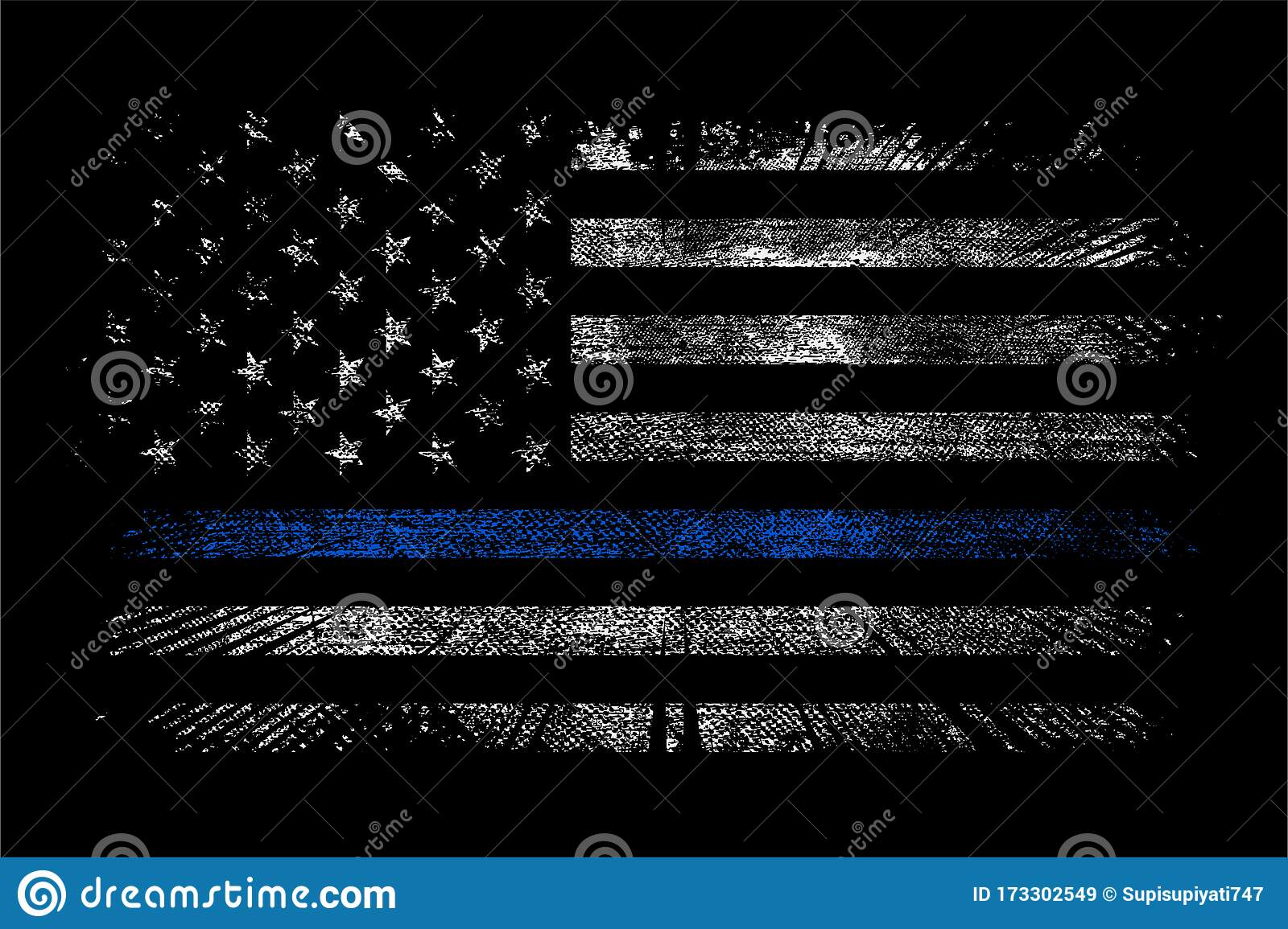Grunge Usa Police With Thin Blue Line Wallpaper Background Stock