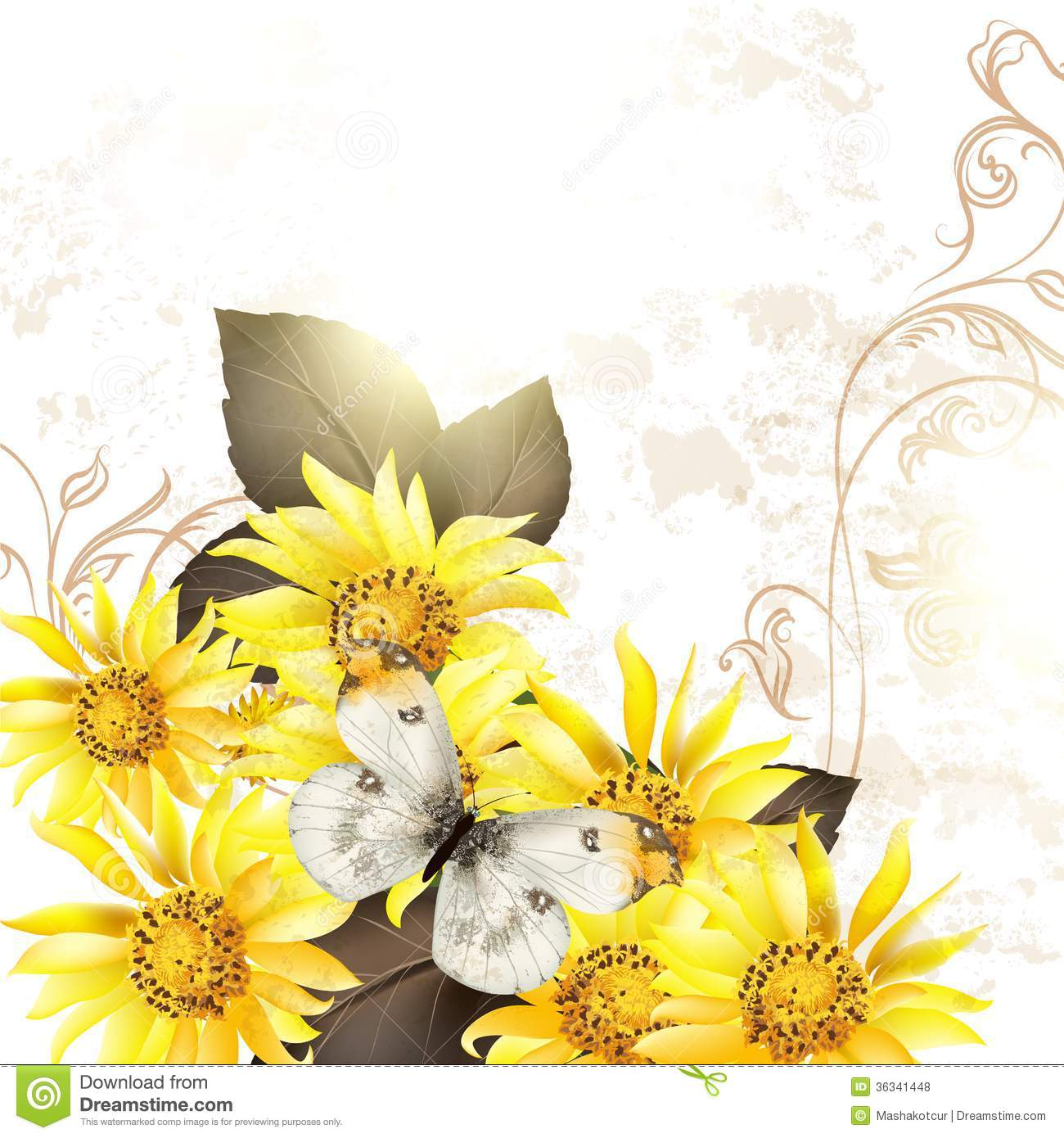 Grunge Vector Background With Yellow Flowers For Design