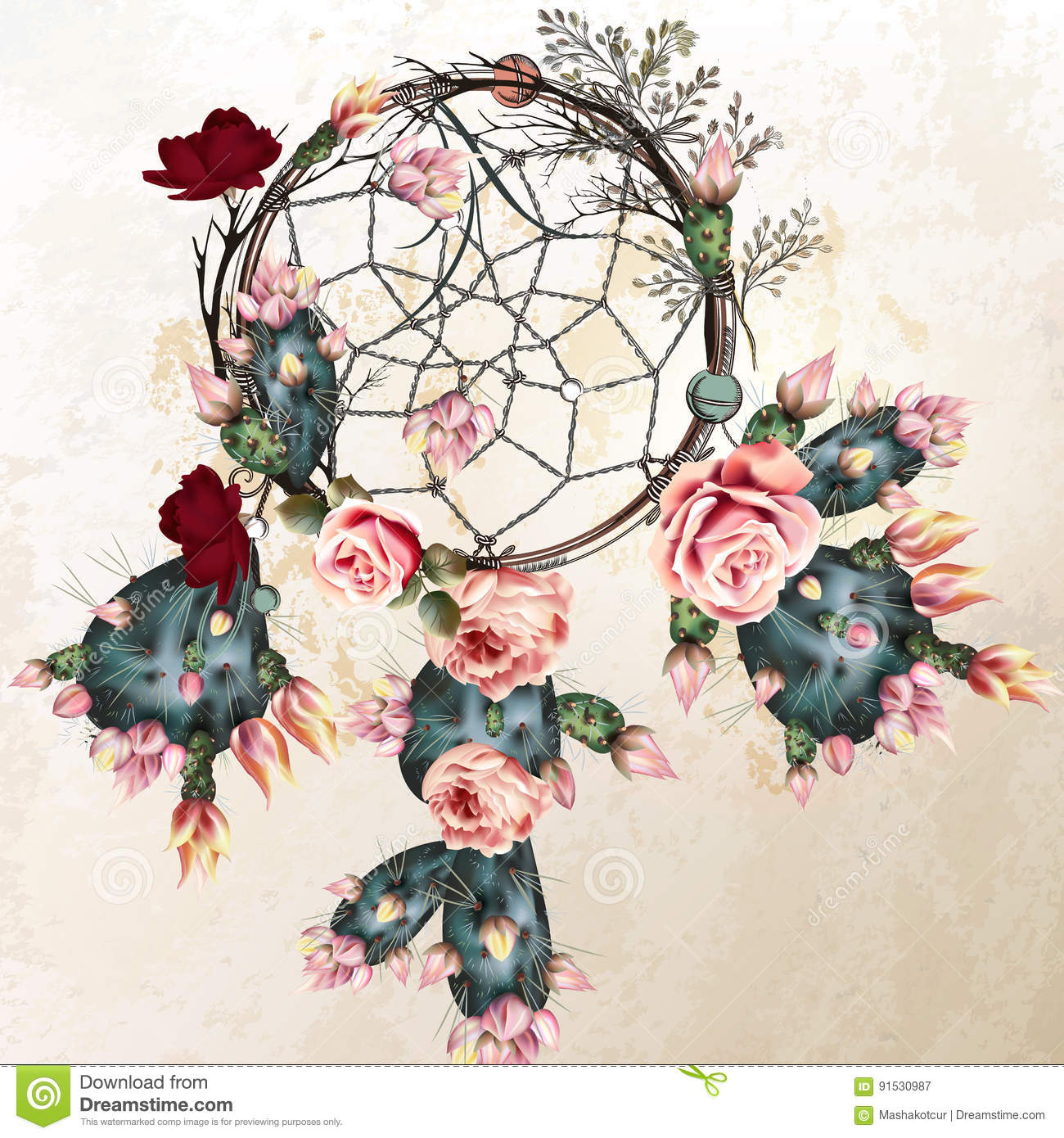 Grunge Vector Boho Background With Indian Dreamcatcher And Rose