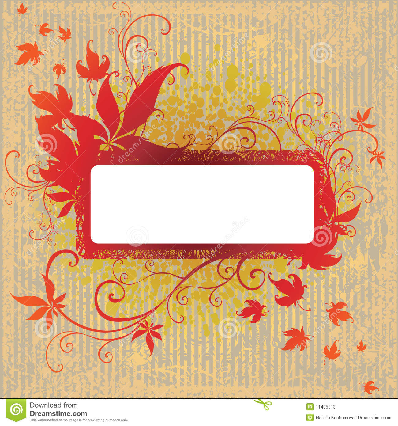 Grunge vector frame with Autumn Leafs. Thank