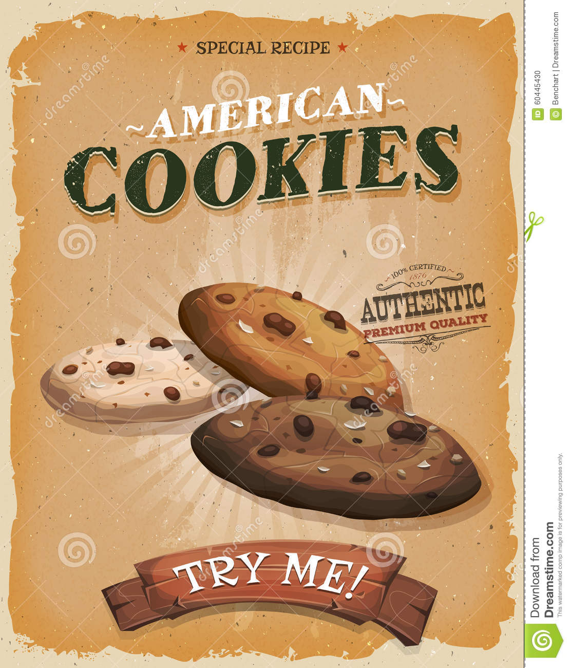 Grunge And Vintage American Cookies Poster Stock Vector ...