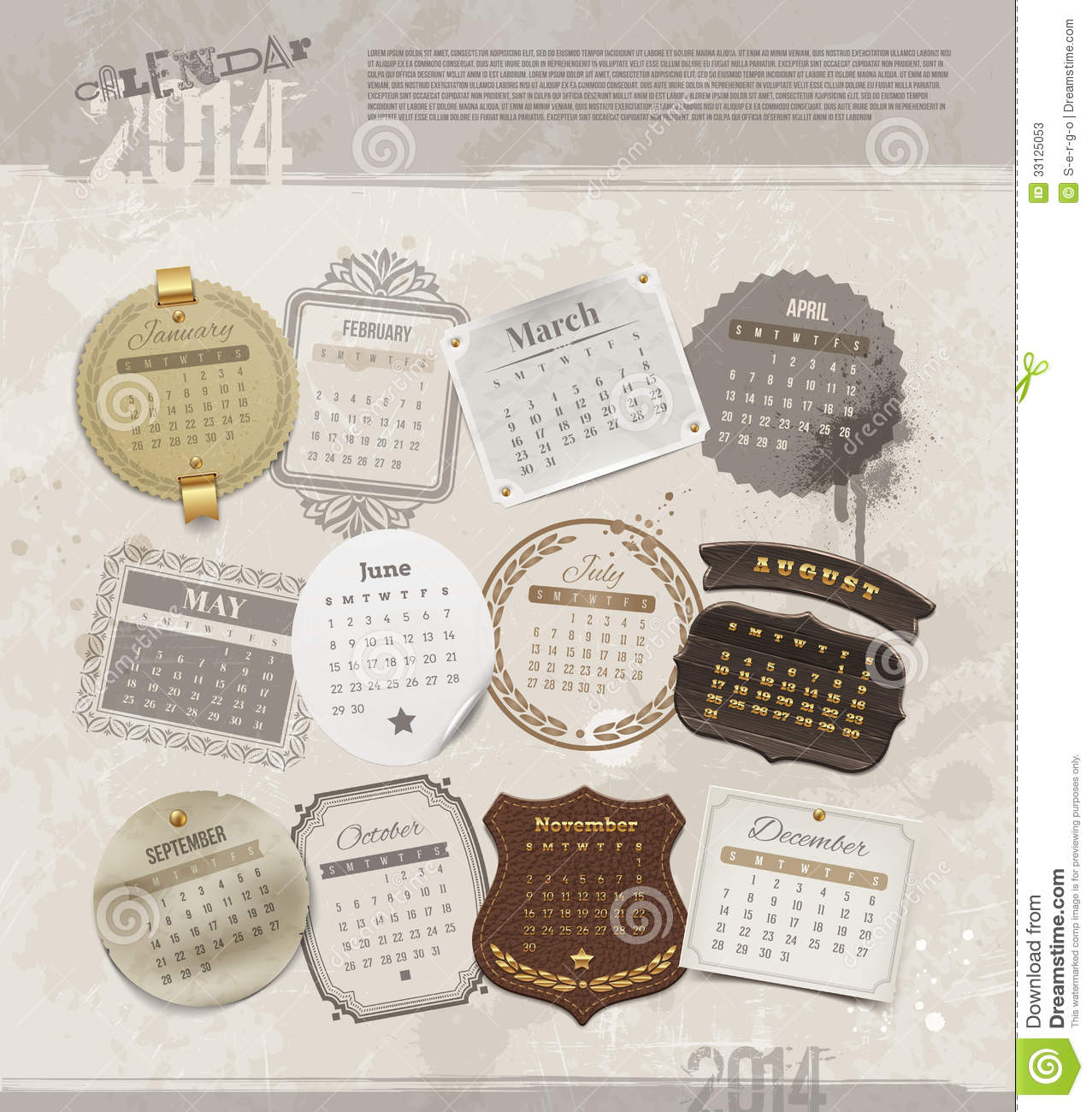 Vintage Calendar Template : Grunge vintage calendar of stock photos image
