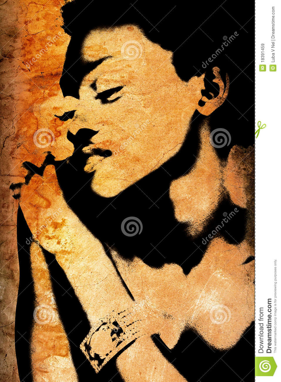 Grunge wall with African woman s face