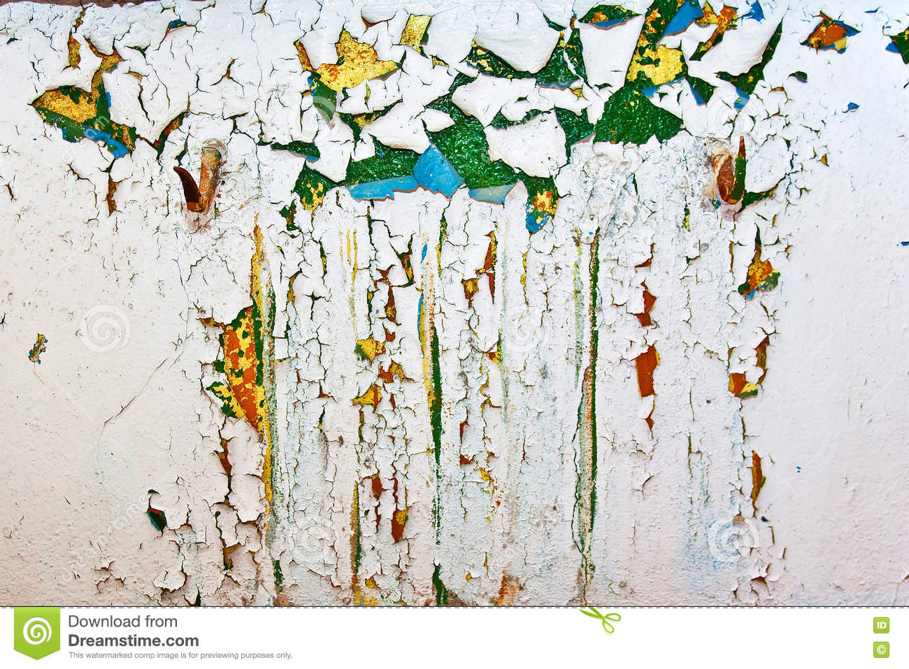 Grunge Wall With Cracks And Peeling Paint In Old House